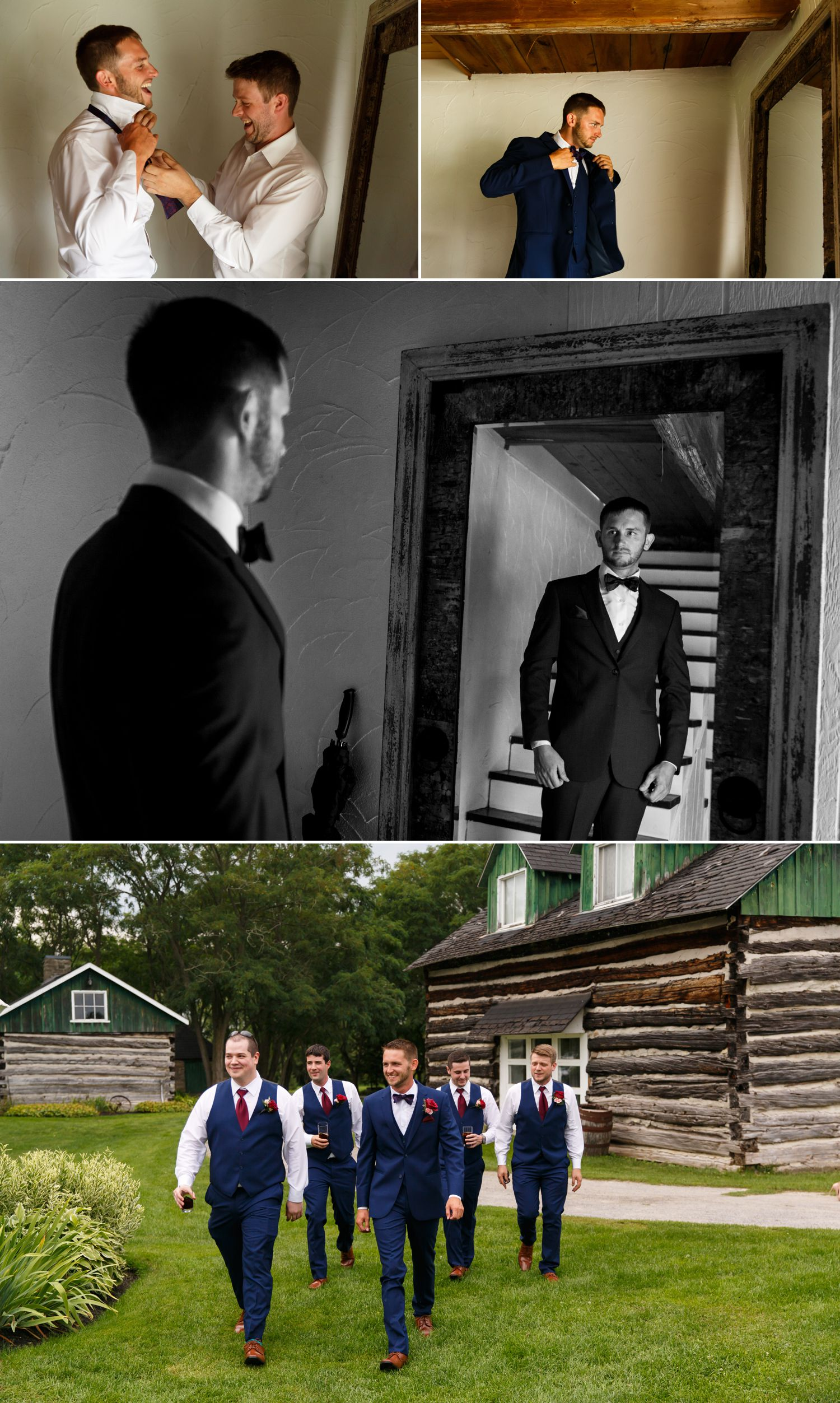 The groom with his groomsmen getting ready at Stonefields Estate