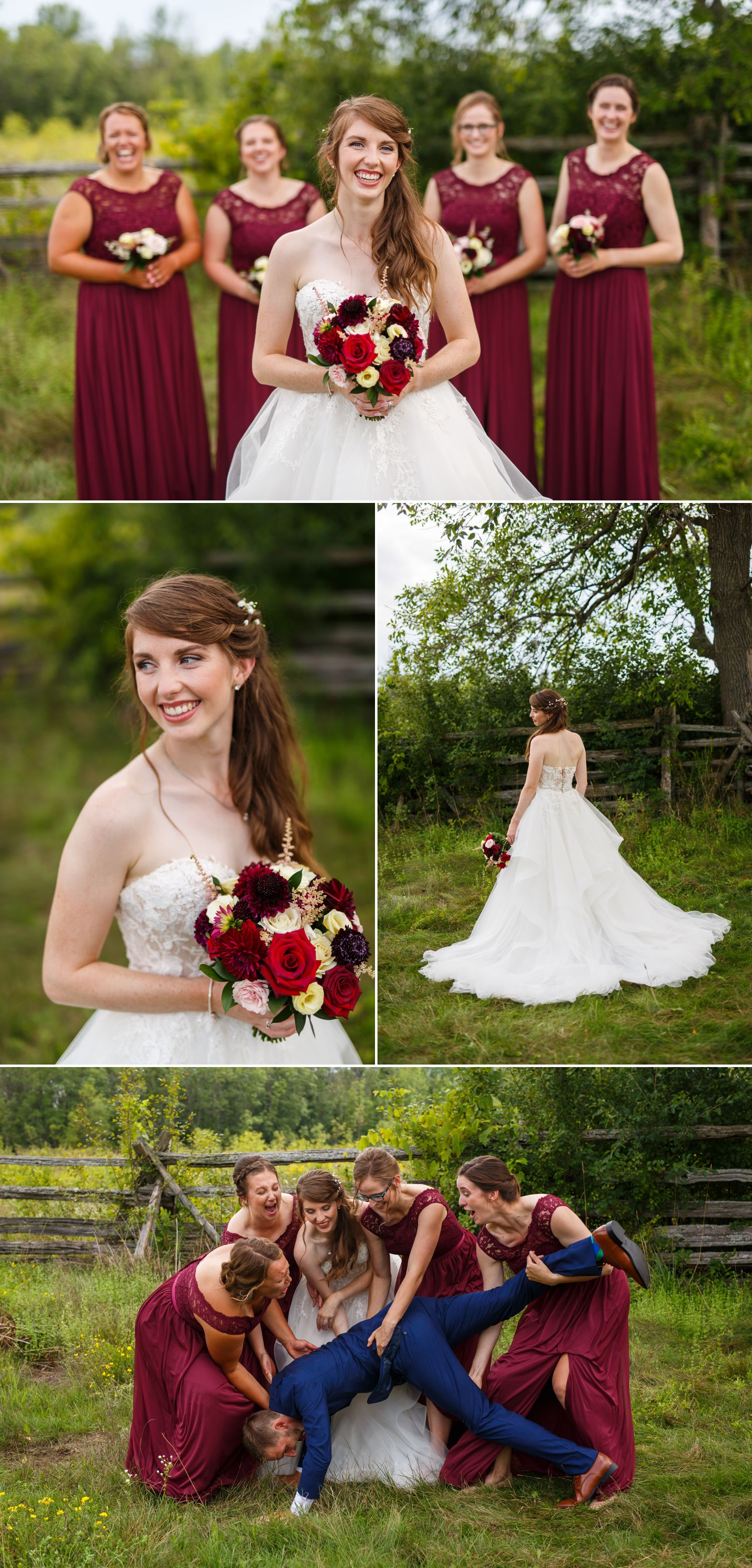 Portraits of the bride and groom with their wedding party at Stonefields Estate