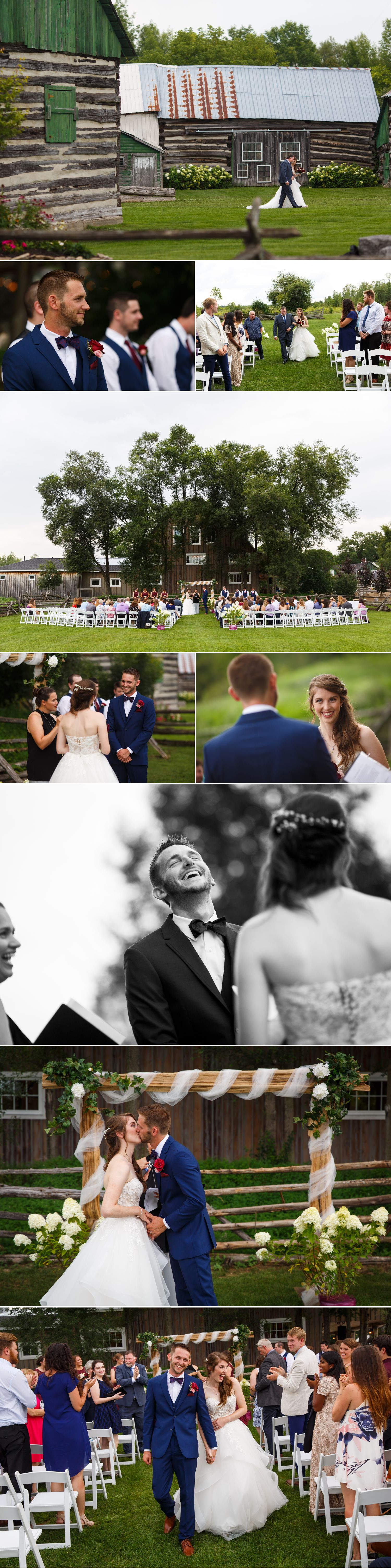An outdoor wedding ceremony taking place at Stonefields Estate