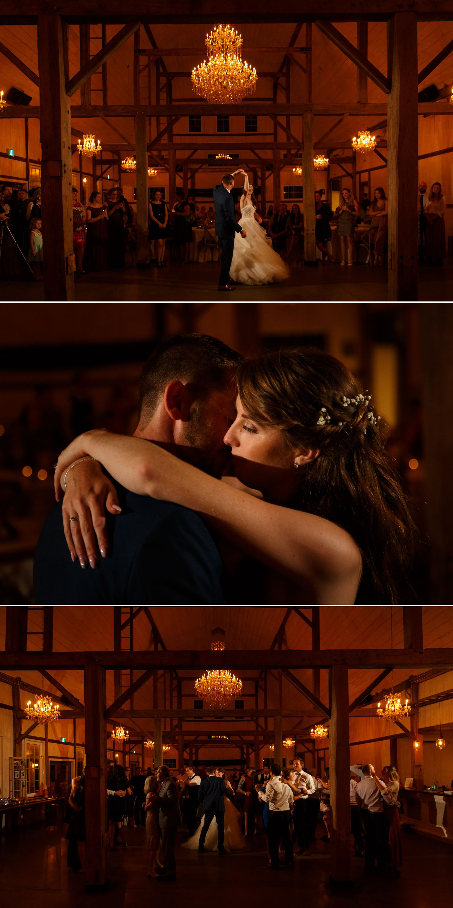 The bride and groom during their first dances during their wedding reception at Stonefields Estate