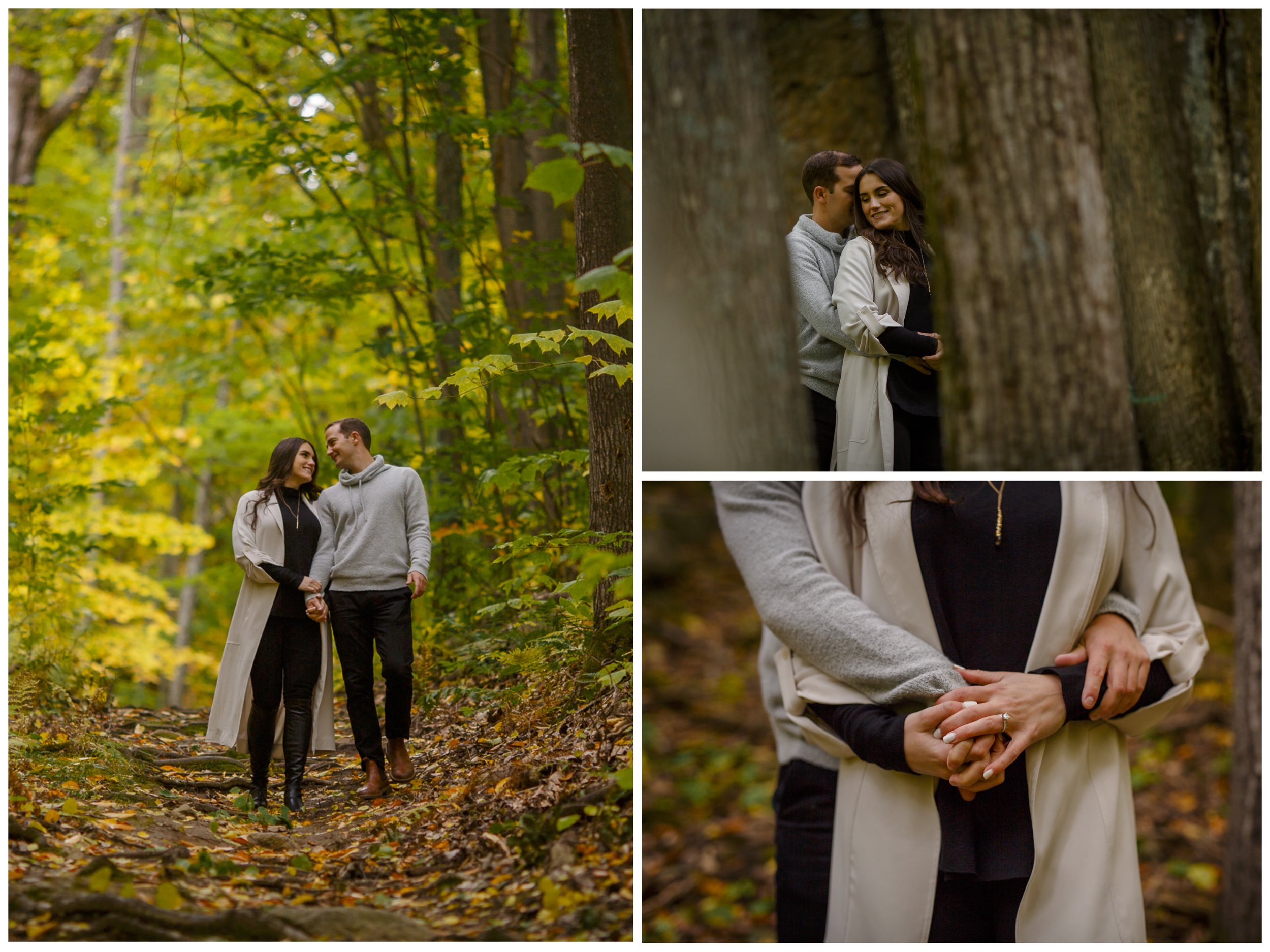 a young engaged couple in the forest in ottawa