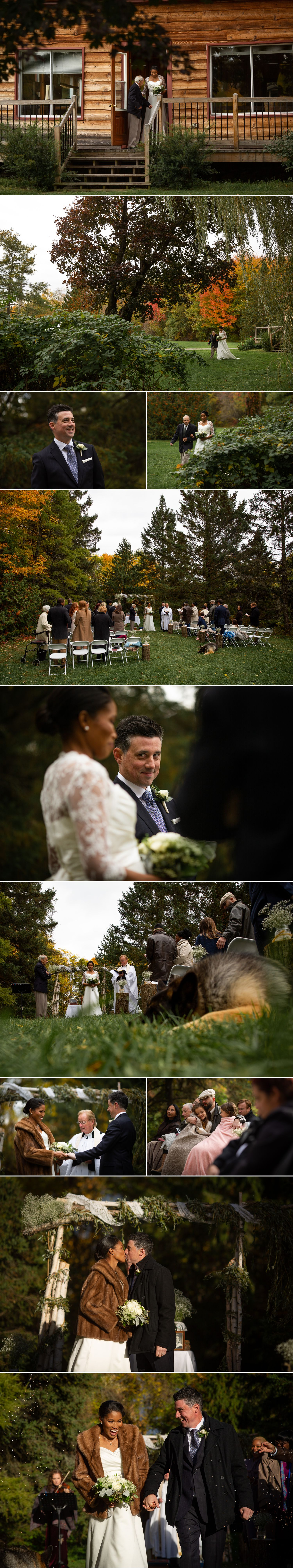 A outdoor fall wedding ceremony that took place at the family farm of the bride's grandparents