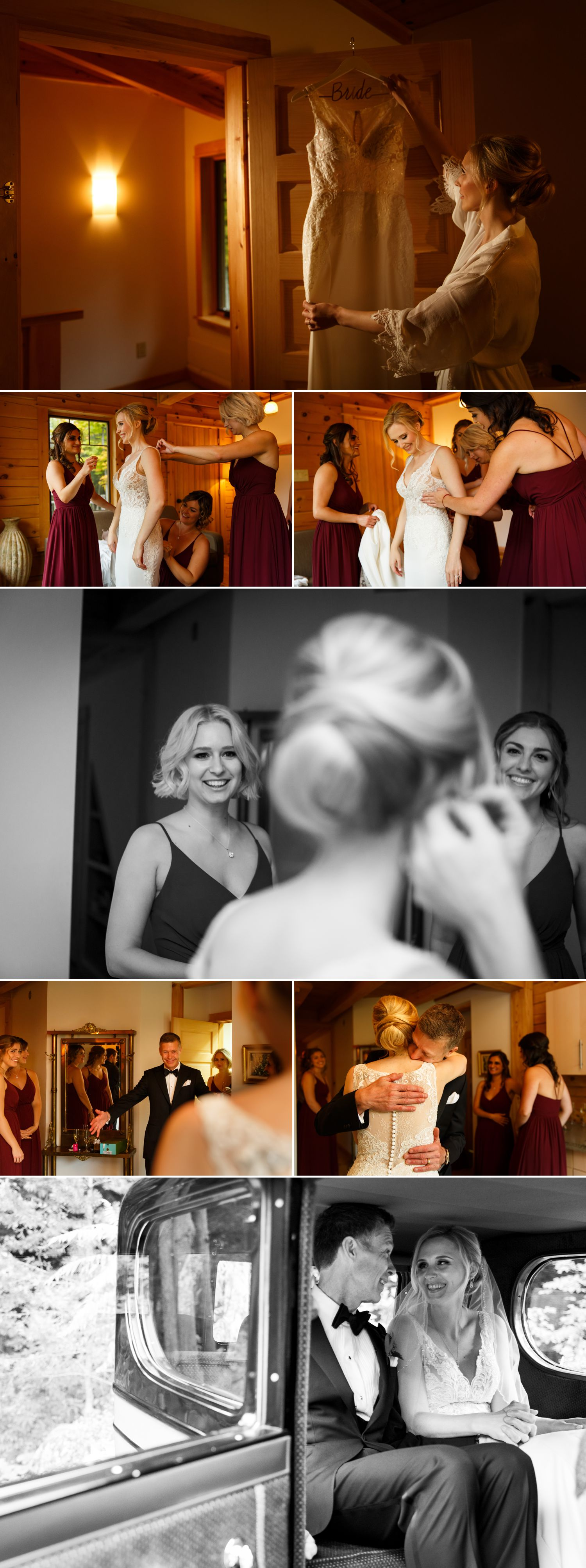 The bride with her bridesmaids and family getting ready at the guest house at Le Belvedere