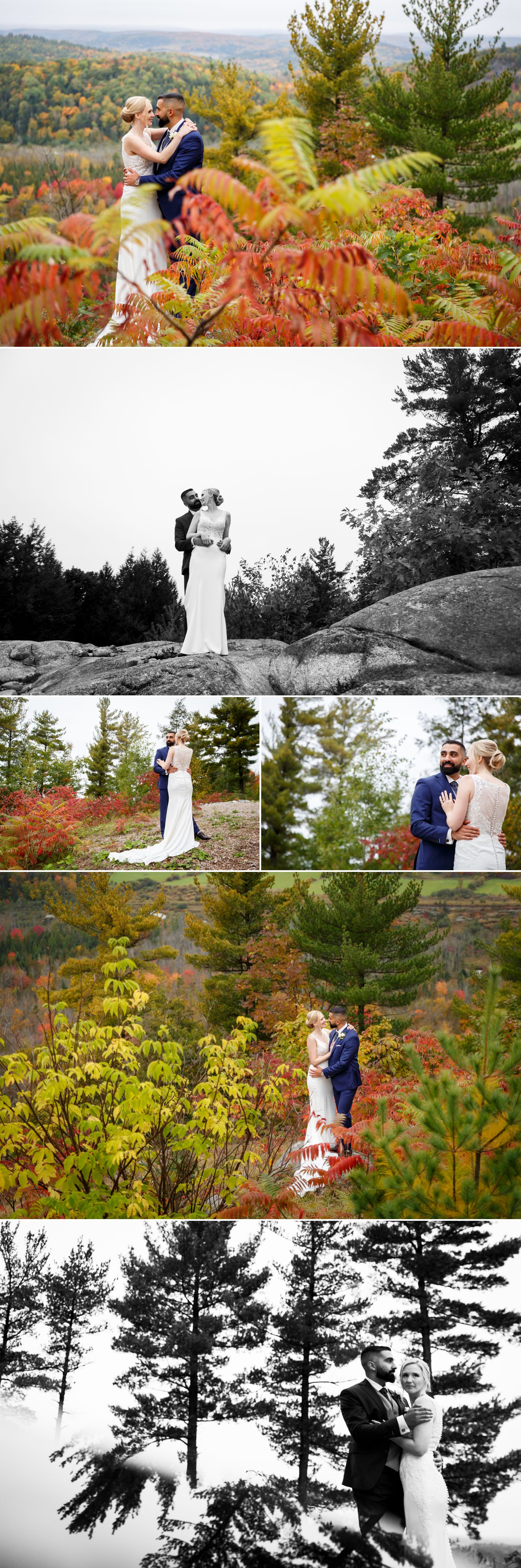 Portraits of the Bride and Groom taken outside in the fall at Le Belvedere