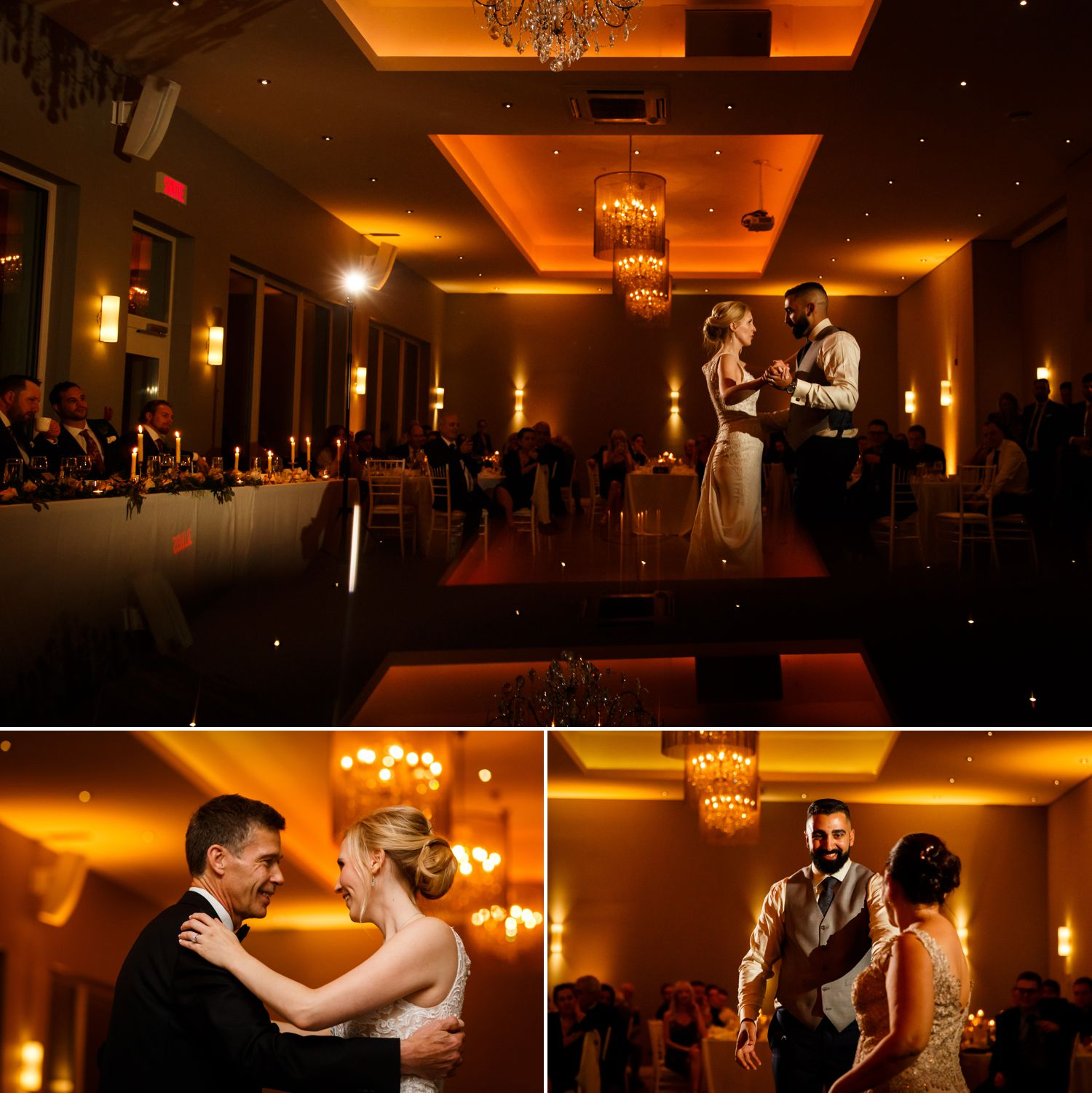 The bride and groom during their first dances at their wedding reception at Le Belvedere