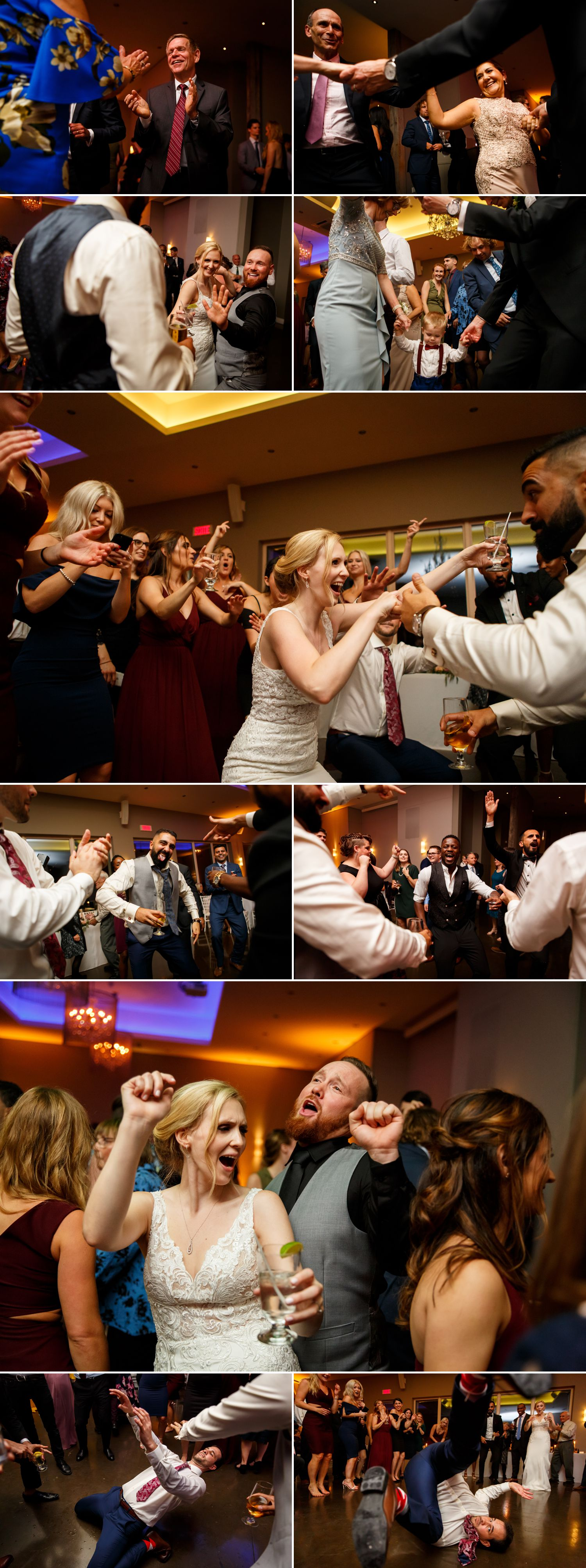 A wedding reception and dance floor during a wedding reception at Le Belvedere