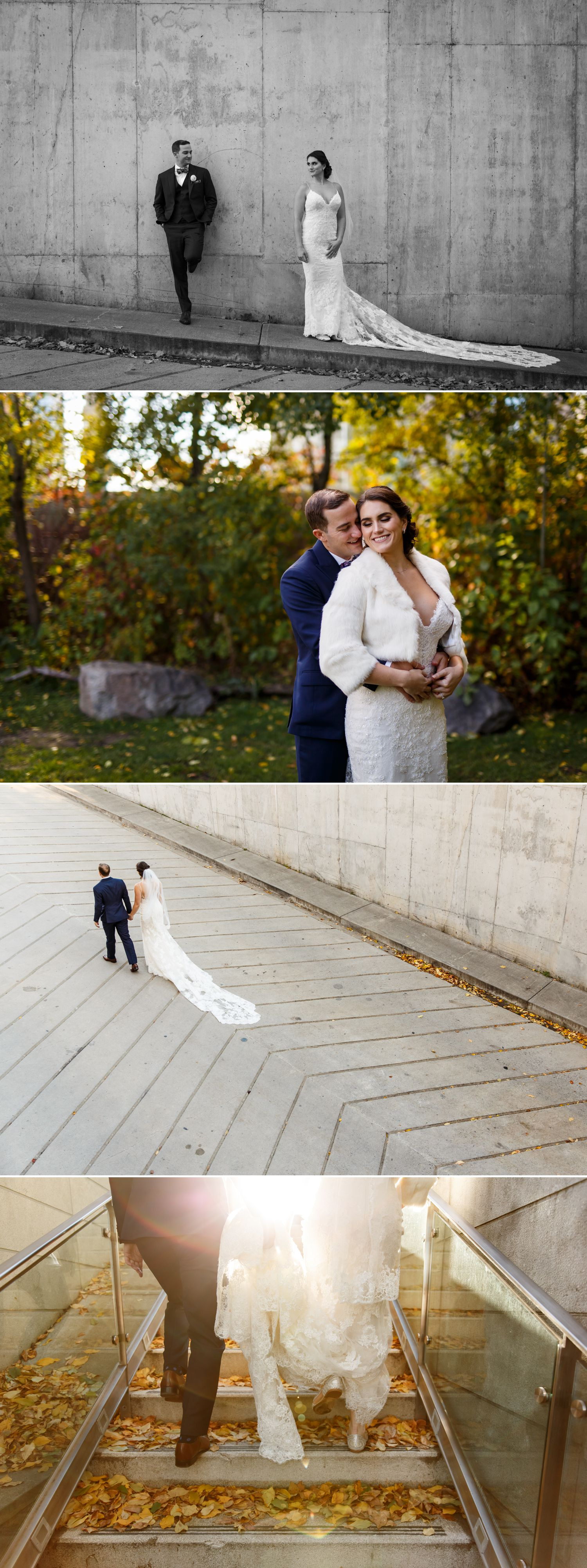 Portraits of the bride and groom taken before their wedding ceremony at the Museum of Nature in downtown Ottawa