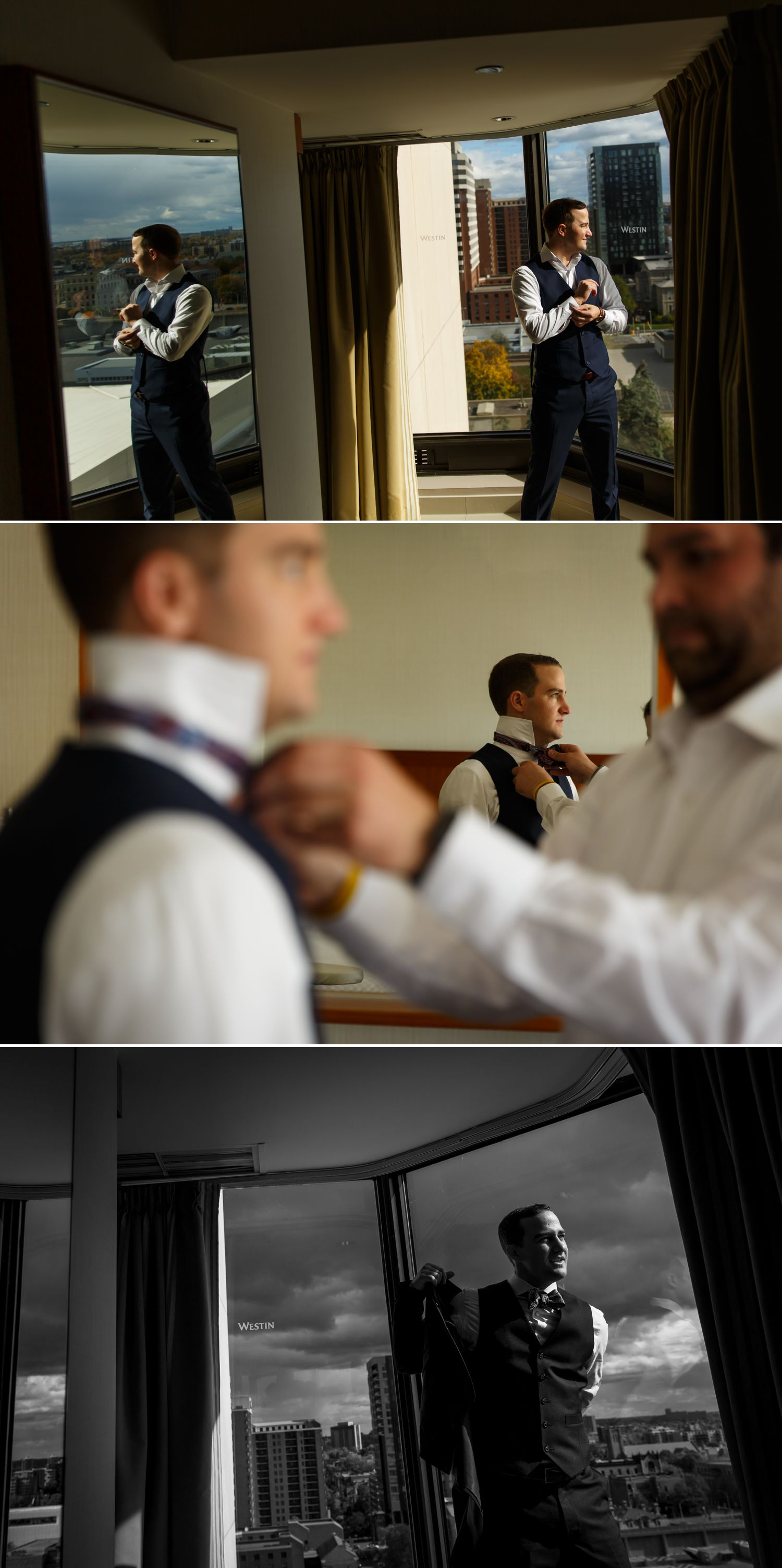 The groom with his groomsmen getting ready at the Westin Hotel in downtown Ottawa