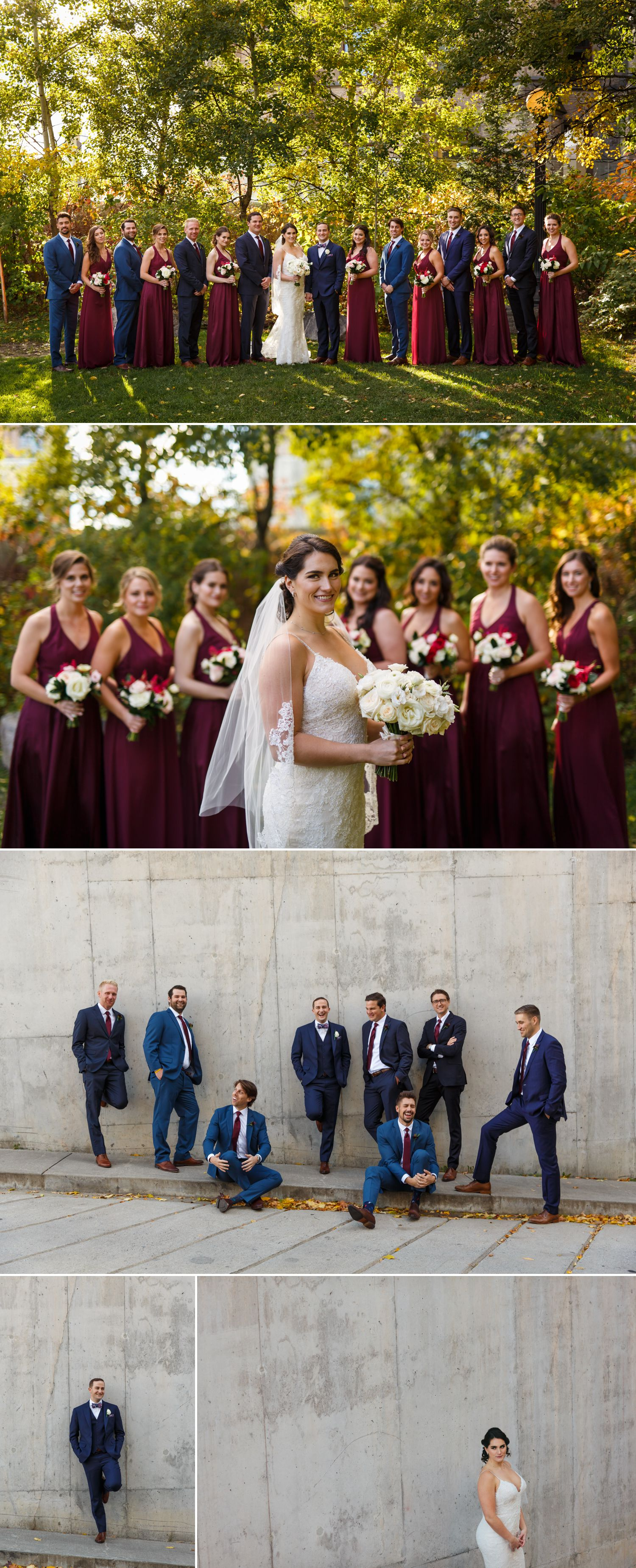 Portraits of the bride and groom with their wedding party at The Museum of Nature in downtown Ottawa
