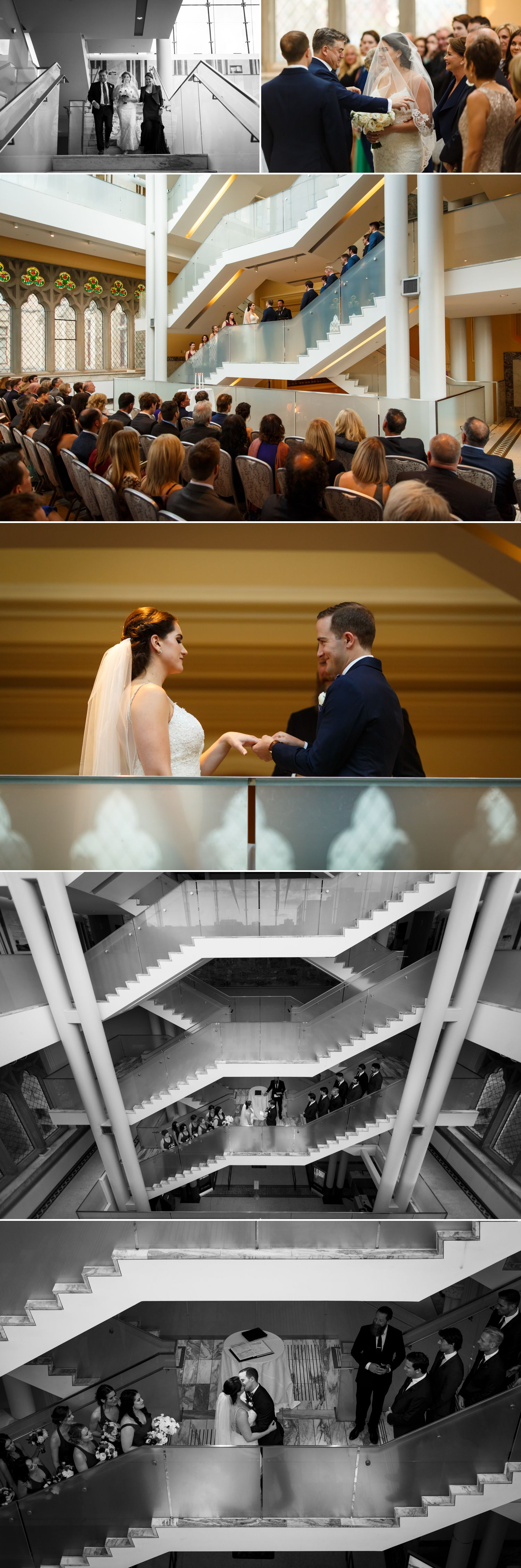 A wedding ceremony taking place inside The Museum of Nature in downtown Ottawa