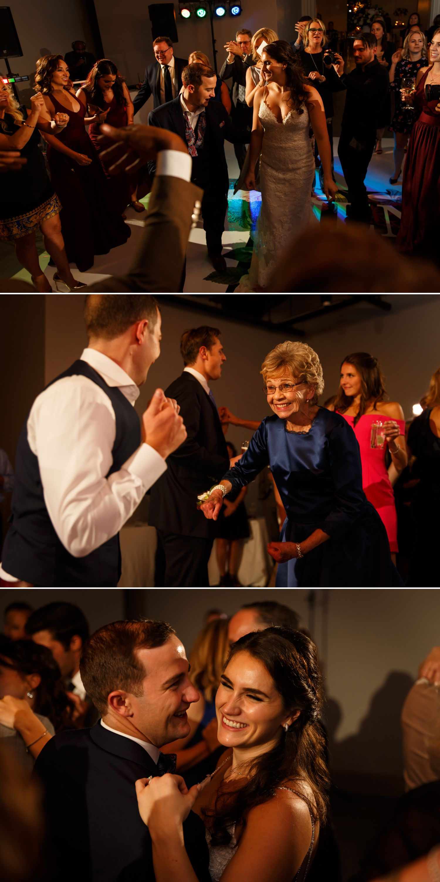 The bride and groom dancing with their guests at their wedding reception inside The Museum of Nature in downtown Ottawa