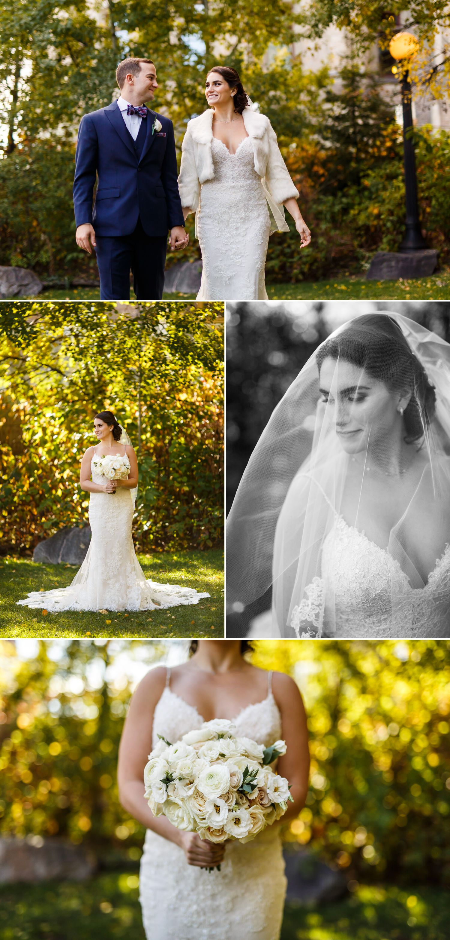 Bridal portraits taken in the fall outside The Museum of Nature