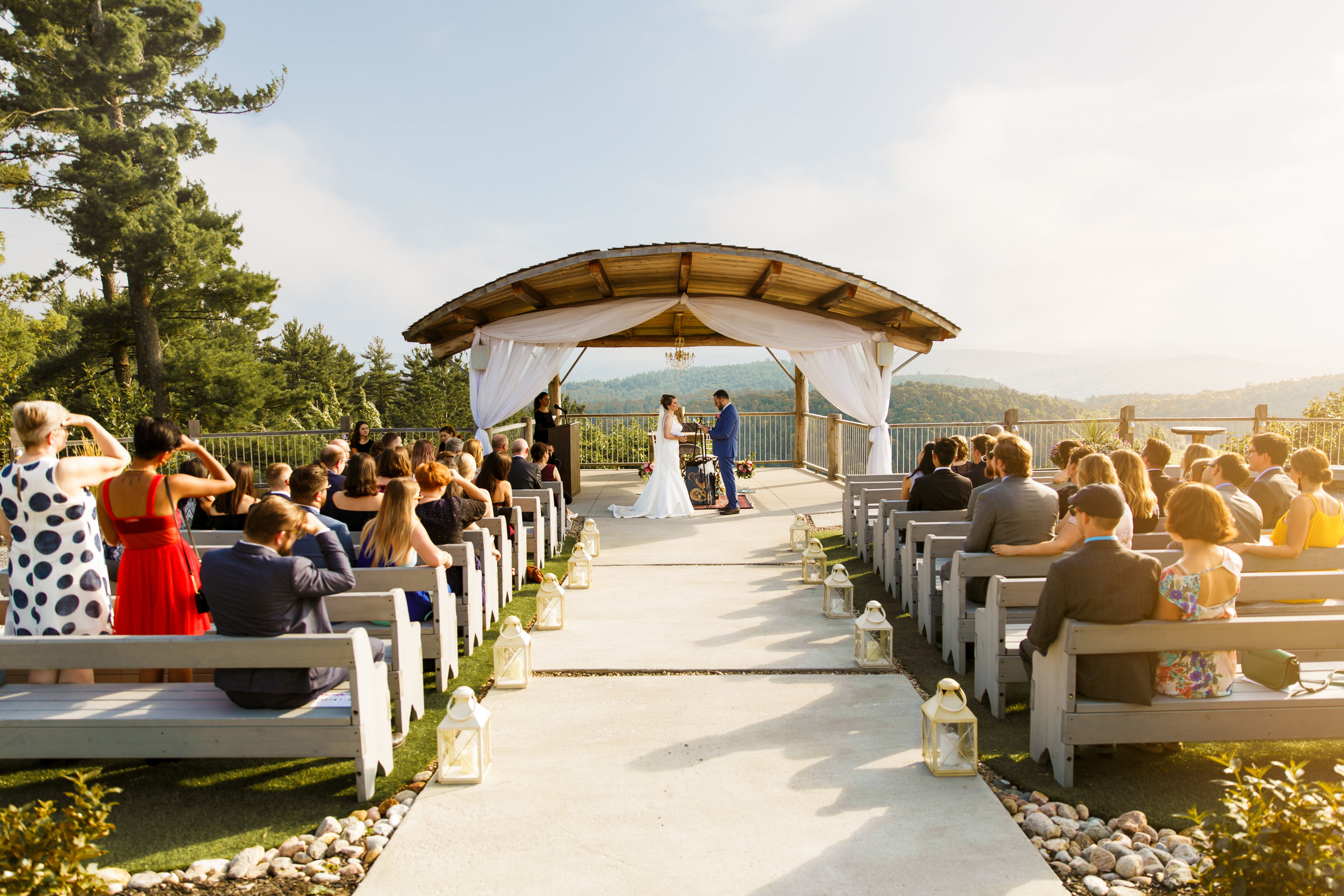 a summer wedding ceremony at le belvedere