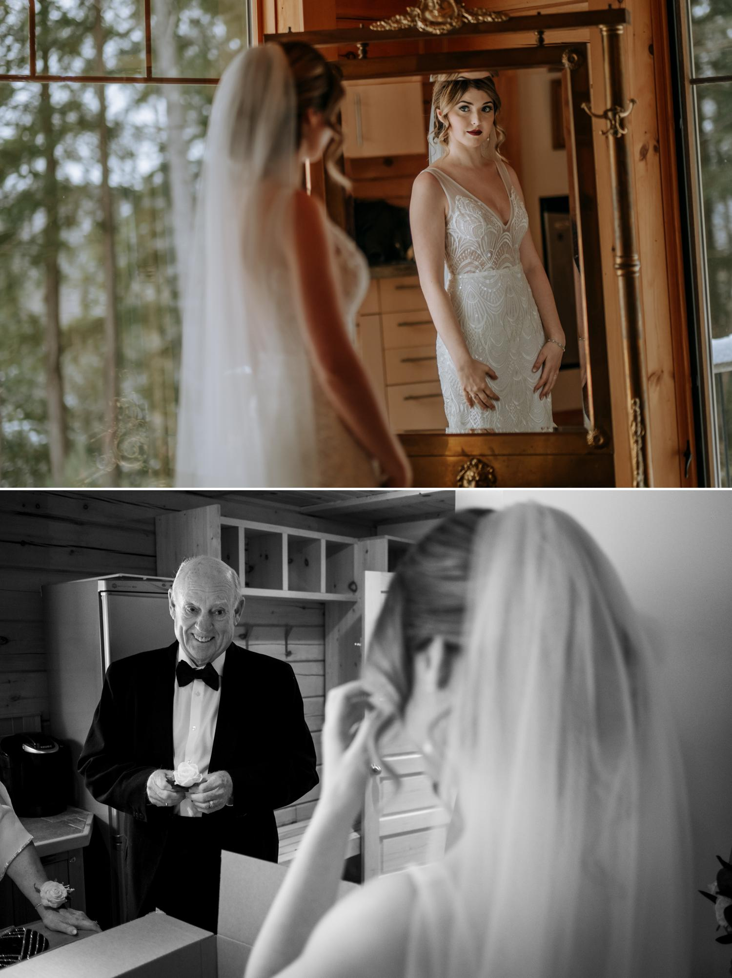 photo of a bride seeing herself in a mirror