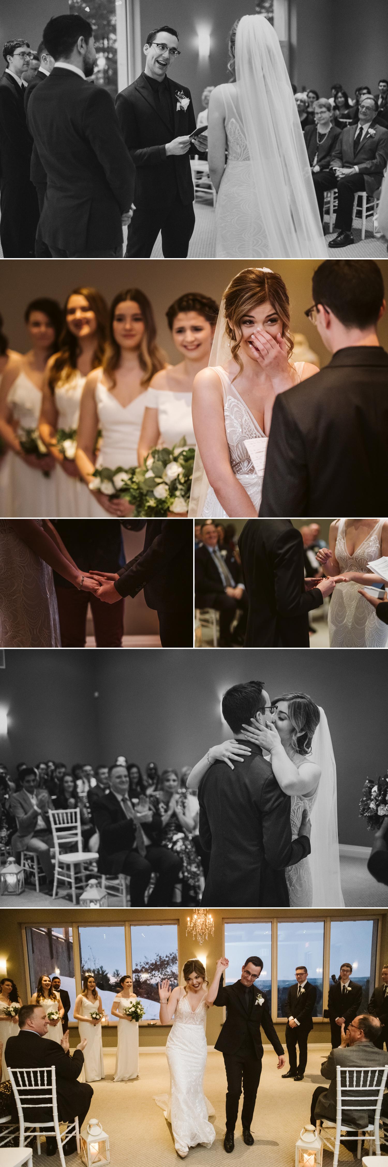 indoor wedding ceremony at le belvedere