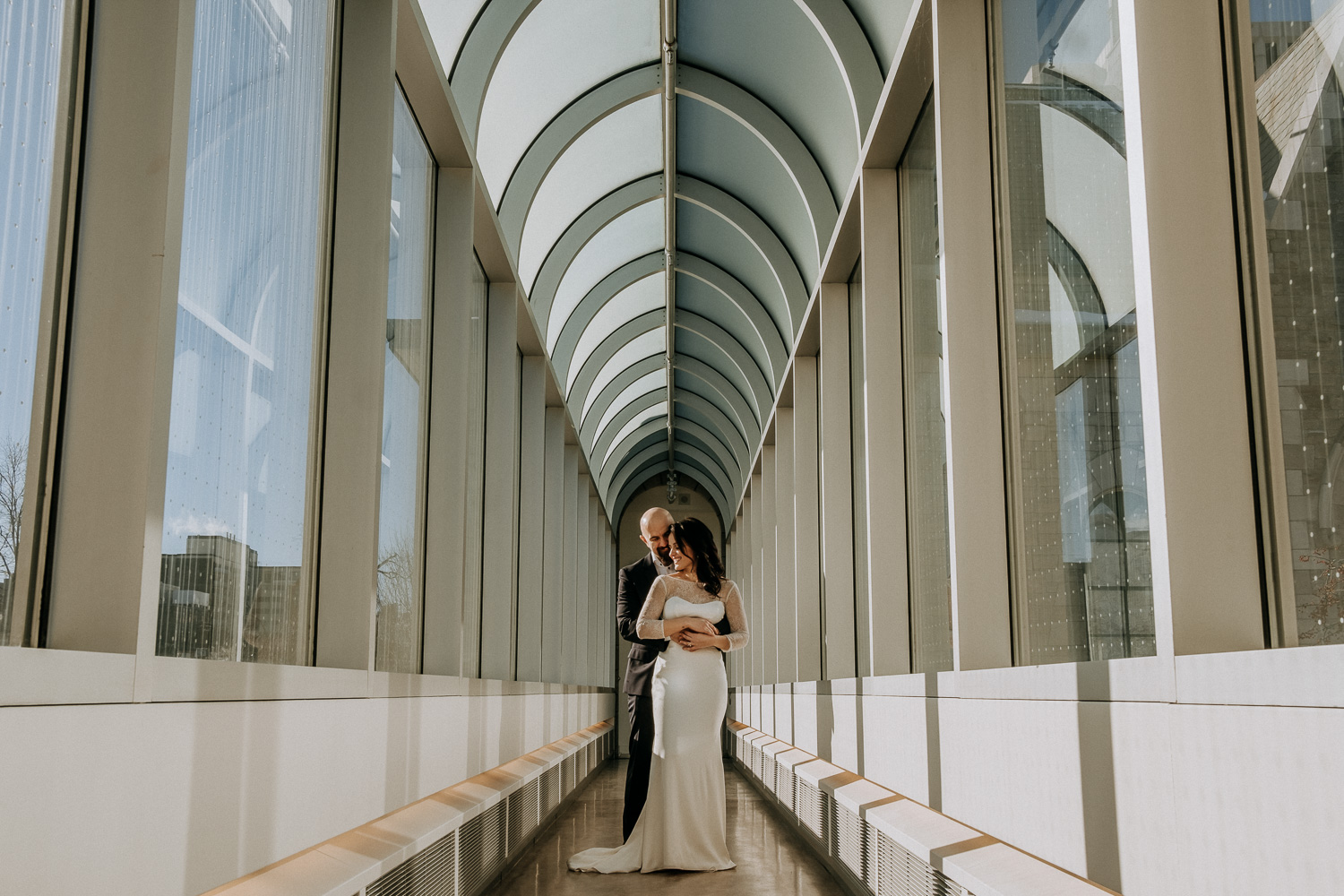 Photograph of a bride and groom at city hall in Ottawa
