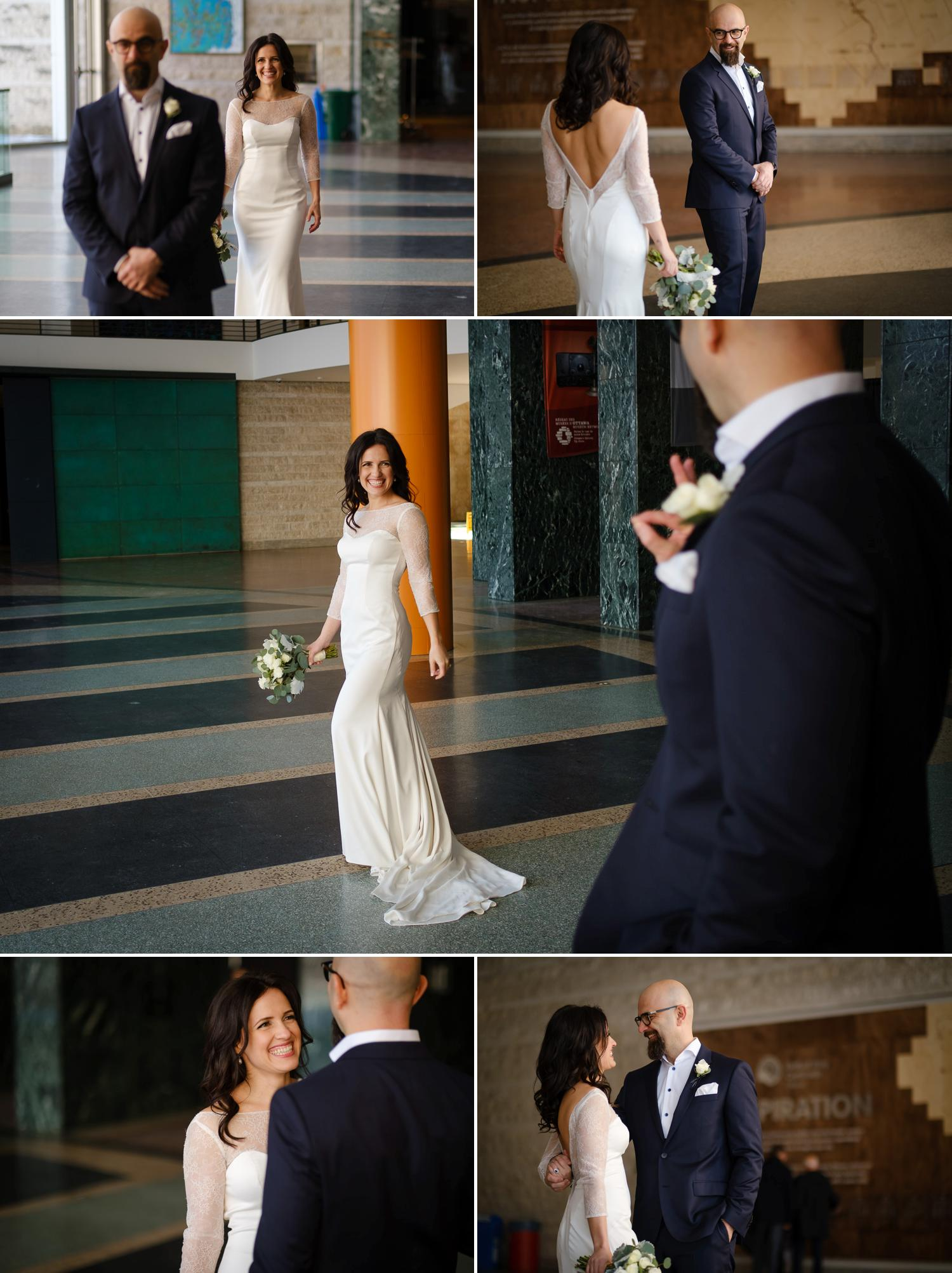 Photographs of when a groom first sees his bride on their wedding day