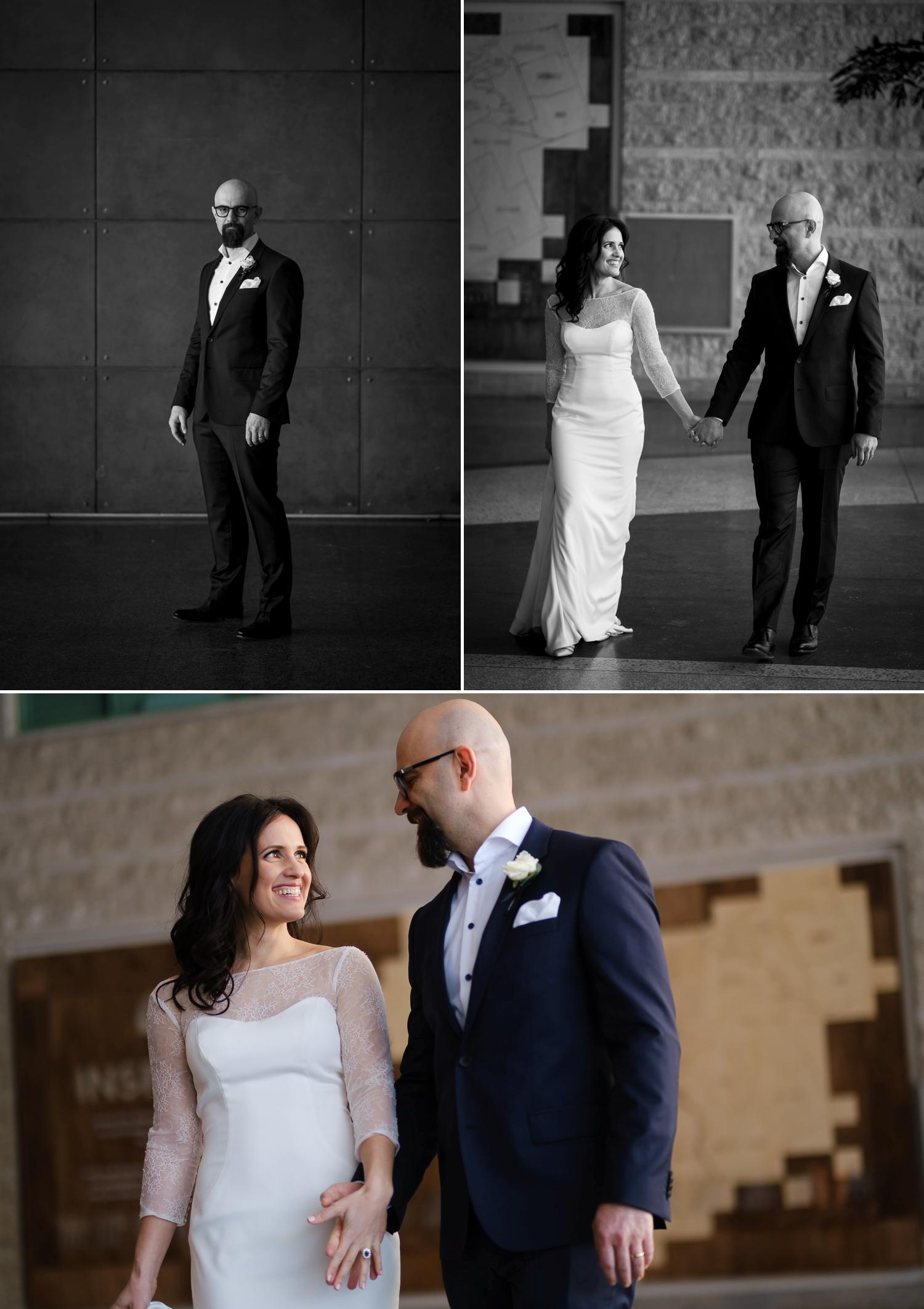 Photographs of a bride and groom in Ottawa City Hall