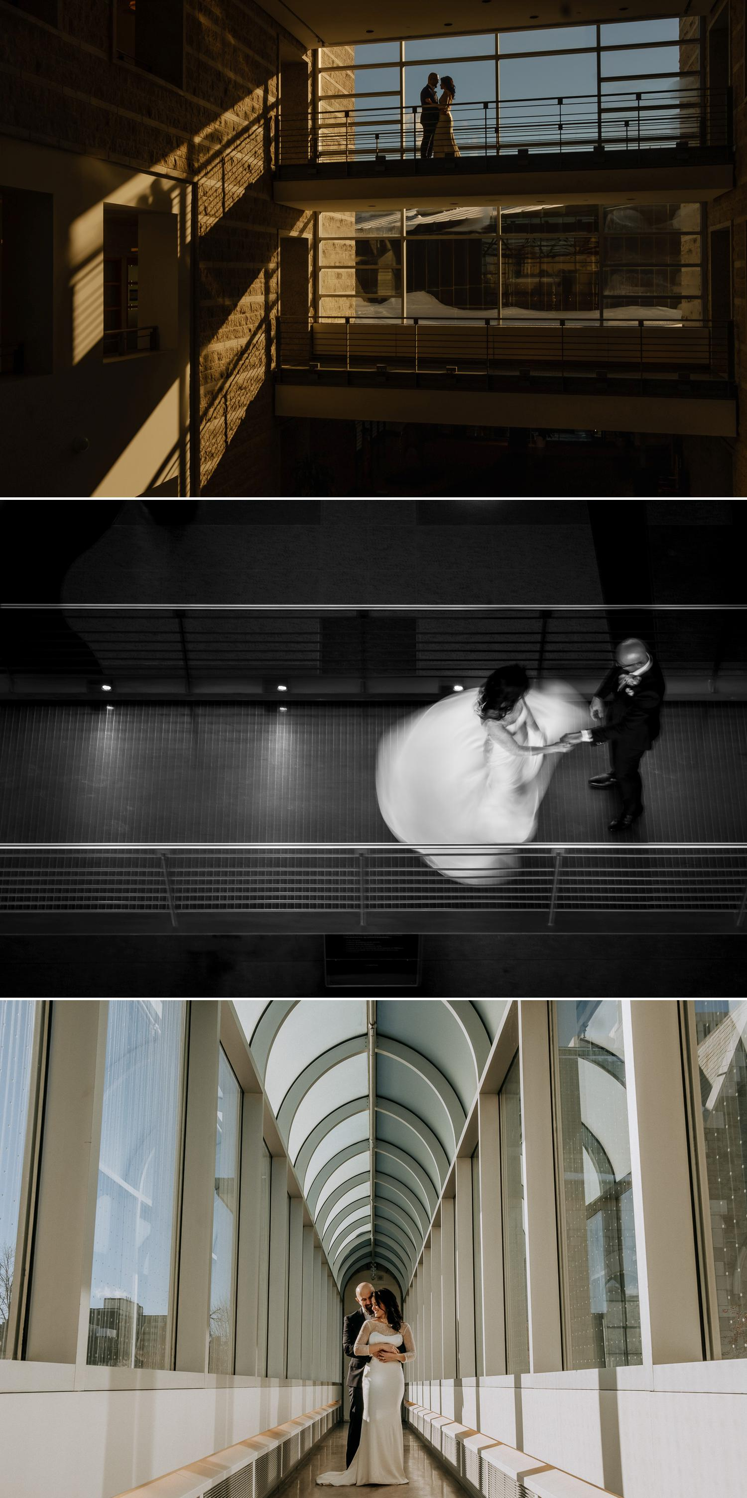 Photographs of a bride and groom in City Hall in Ottawa Ontario