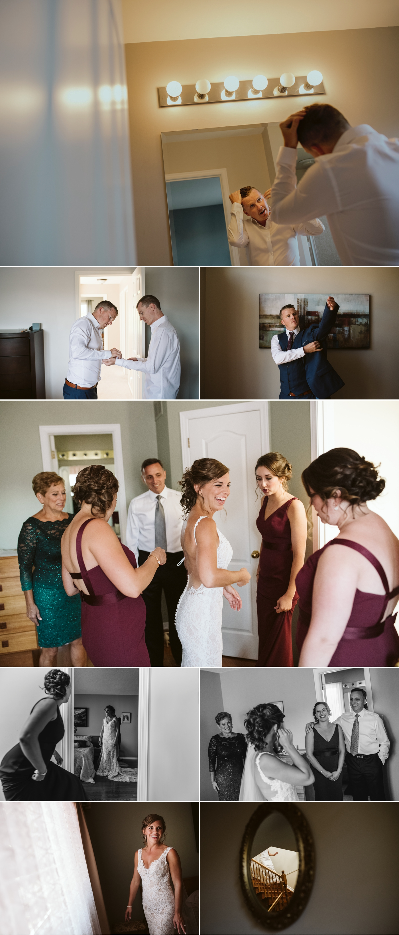 bride and groom get ready for their hunt and golf club wedding in ottawa ontario
