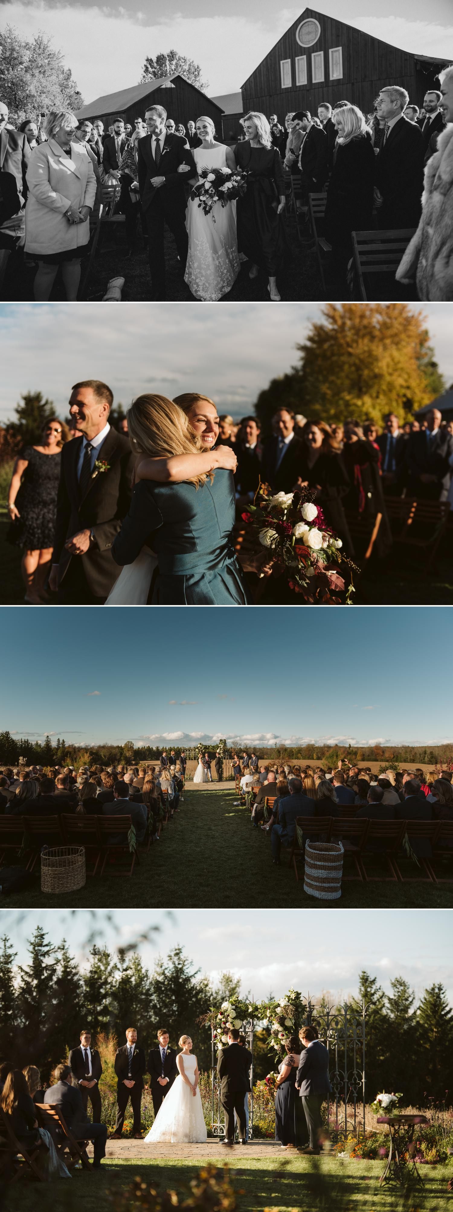 Wedding ceremony at evermore events in almonte ontario