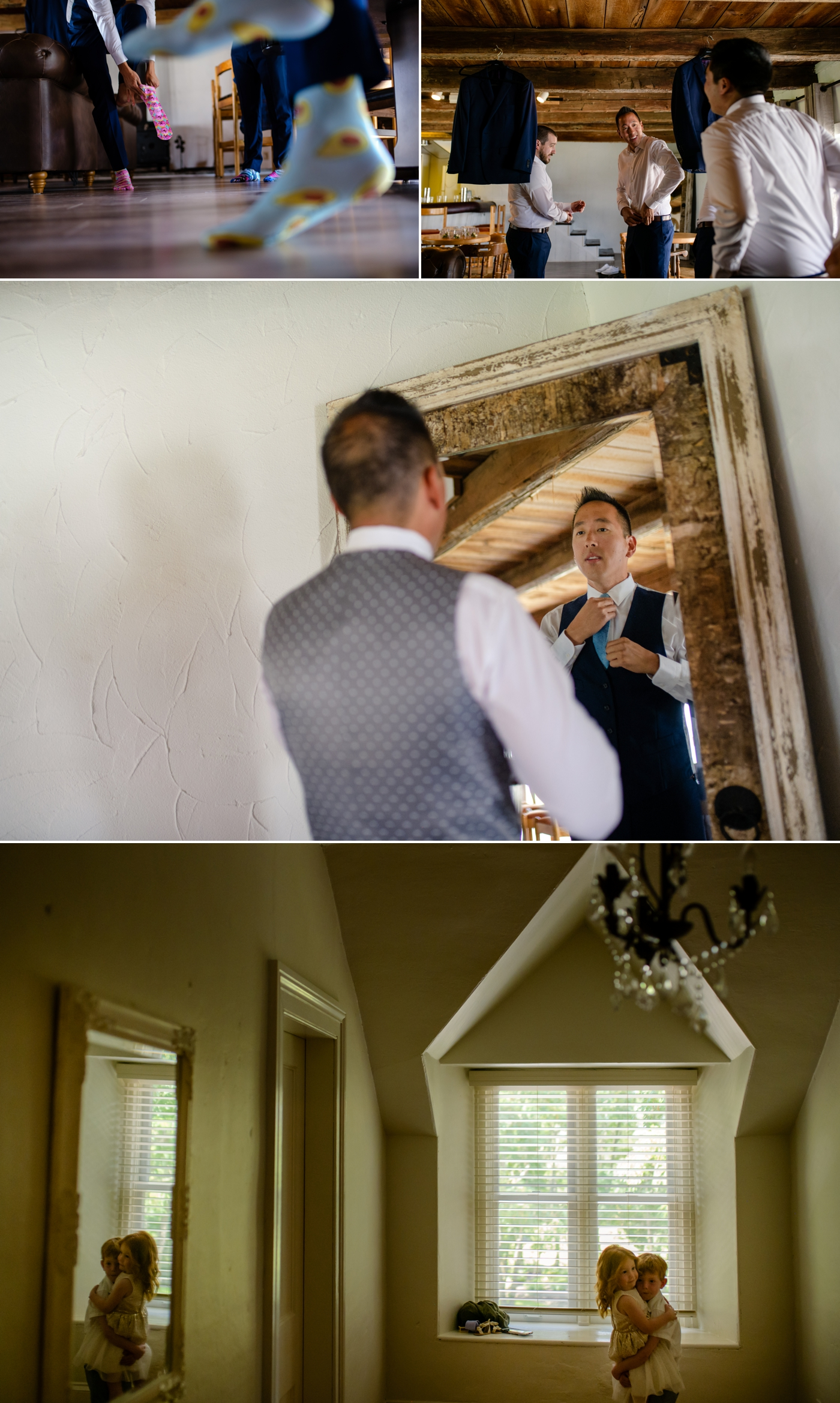 candid moments of groom getting ready for his stonefields wedding in carelton place ontario