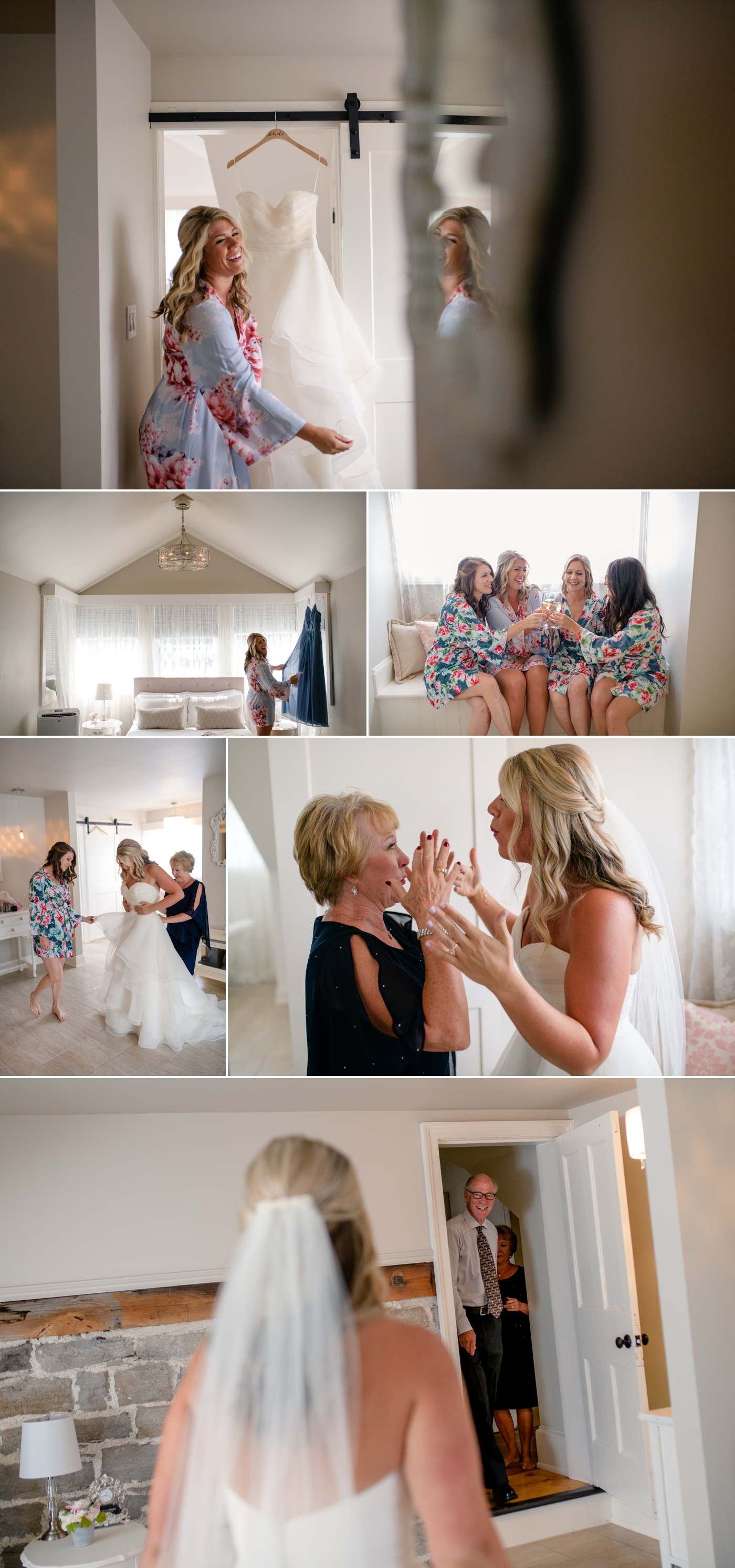 candid moments of bride getting ready for her stonefields wedding in carelton place ontario