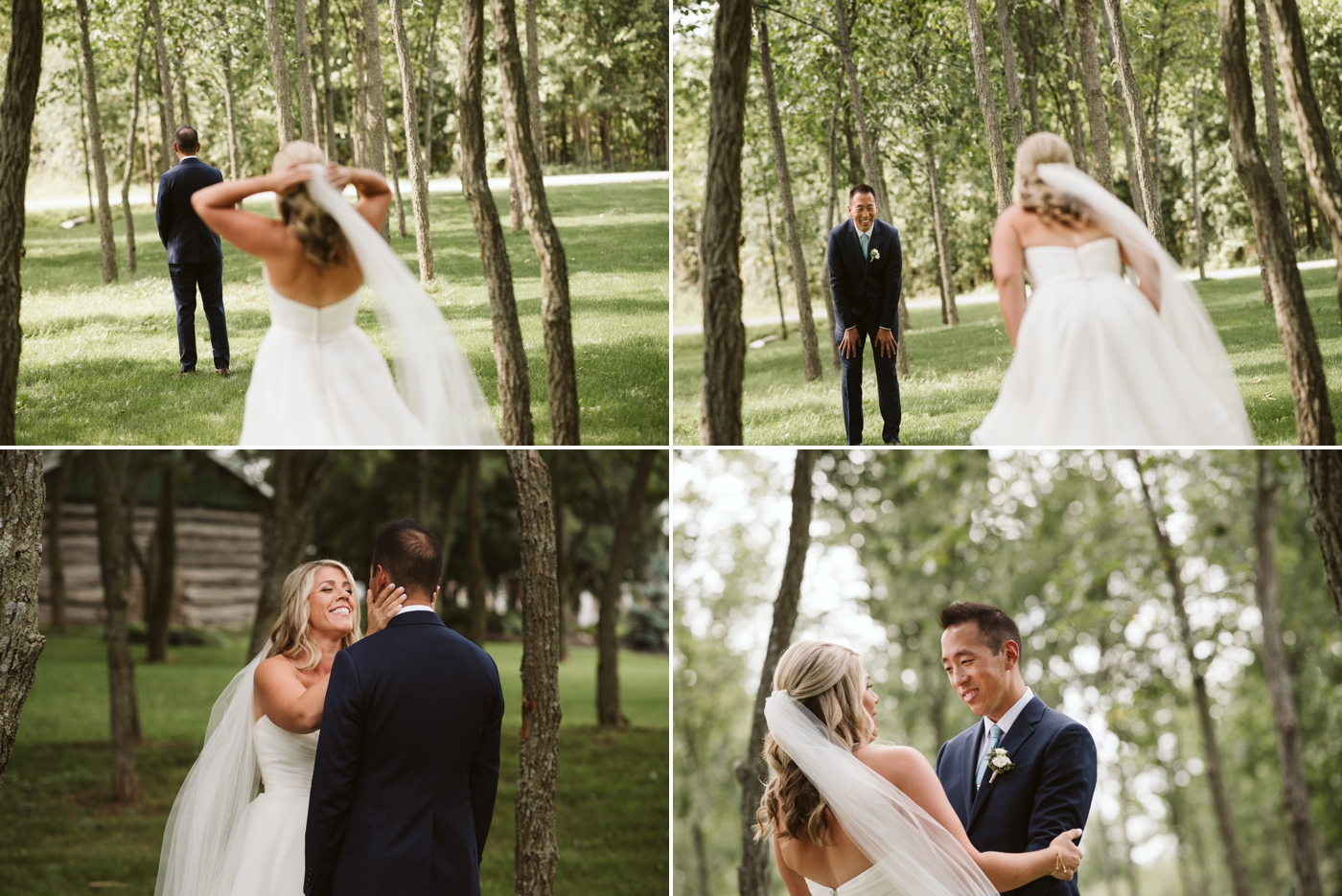 candid moments of bride and grooms first look before stonefields wedding  ceremony in carelton place ontario