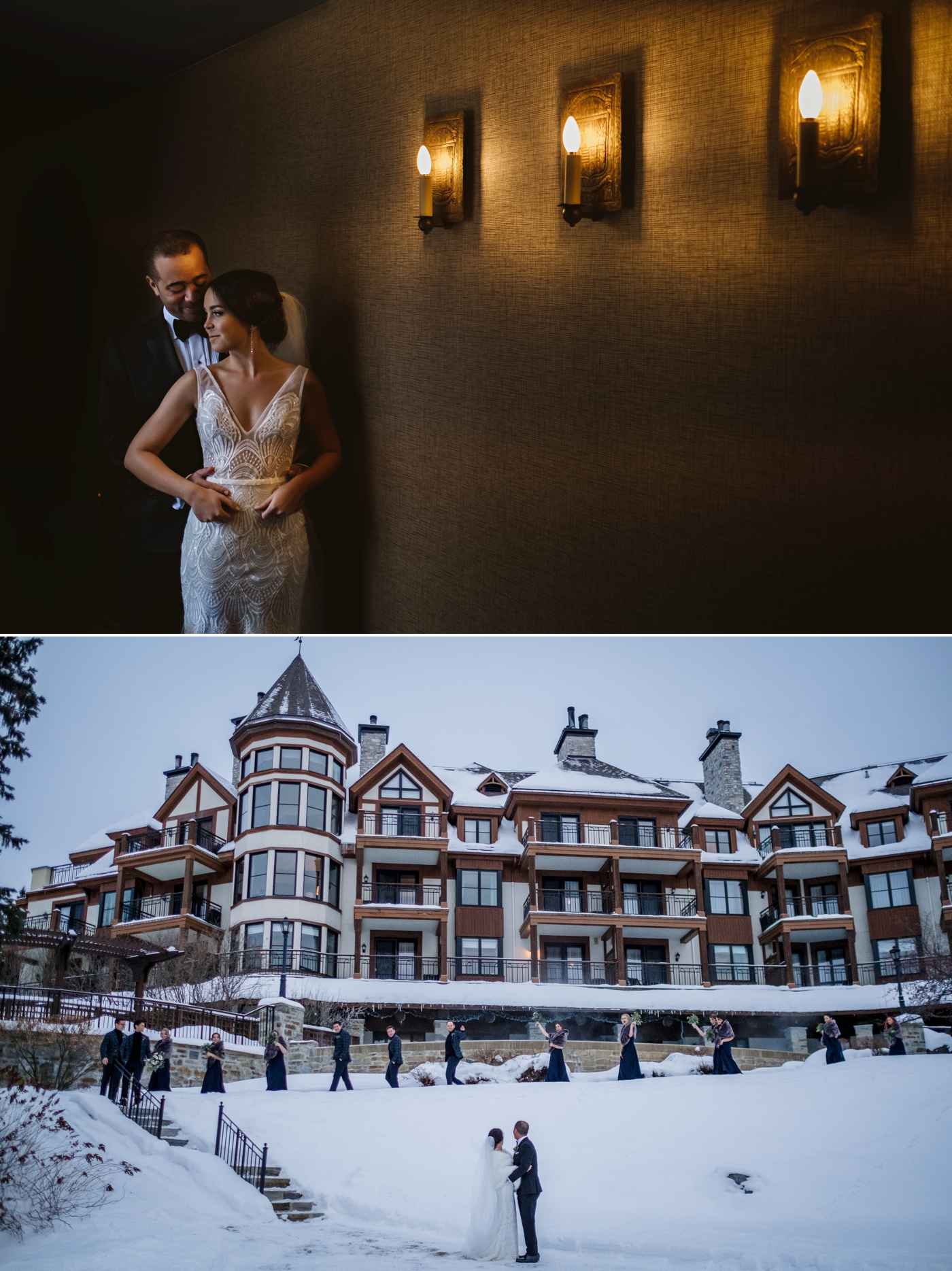 winter portraits of a bride and groom at the hotel quintessence in mont tremblant quebec