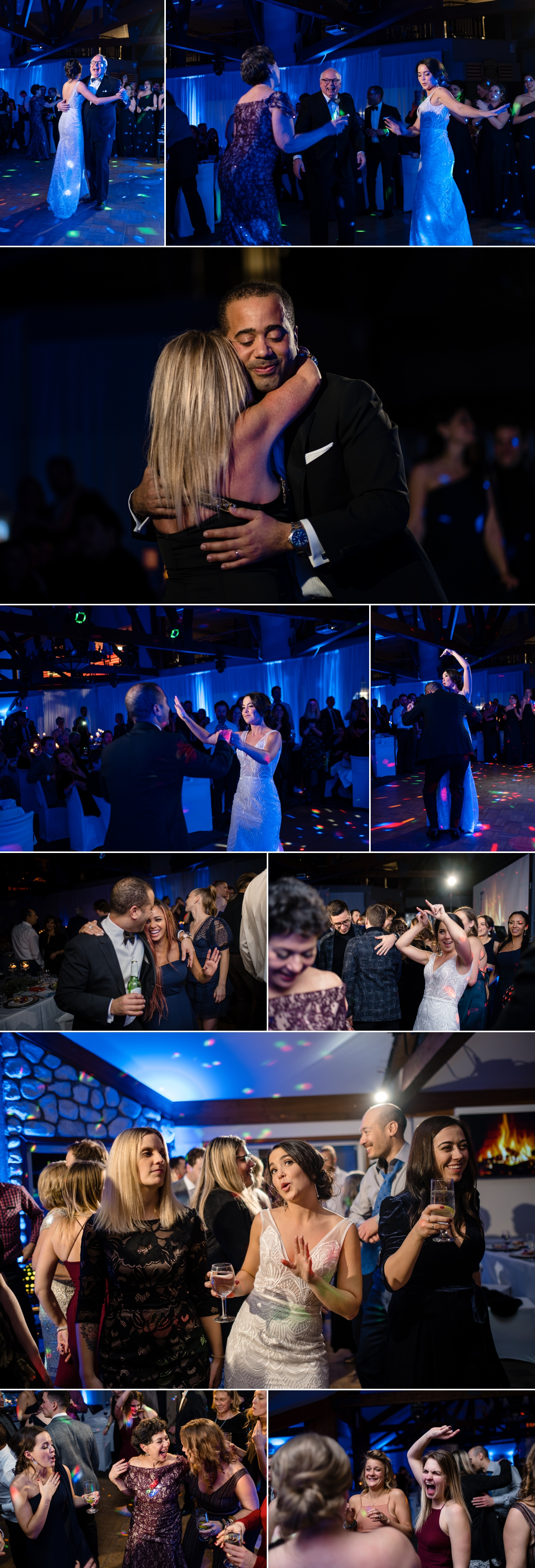 candid dance floor moments during a winter wedding reception at the grand manitou in mont tremblant quebec