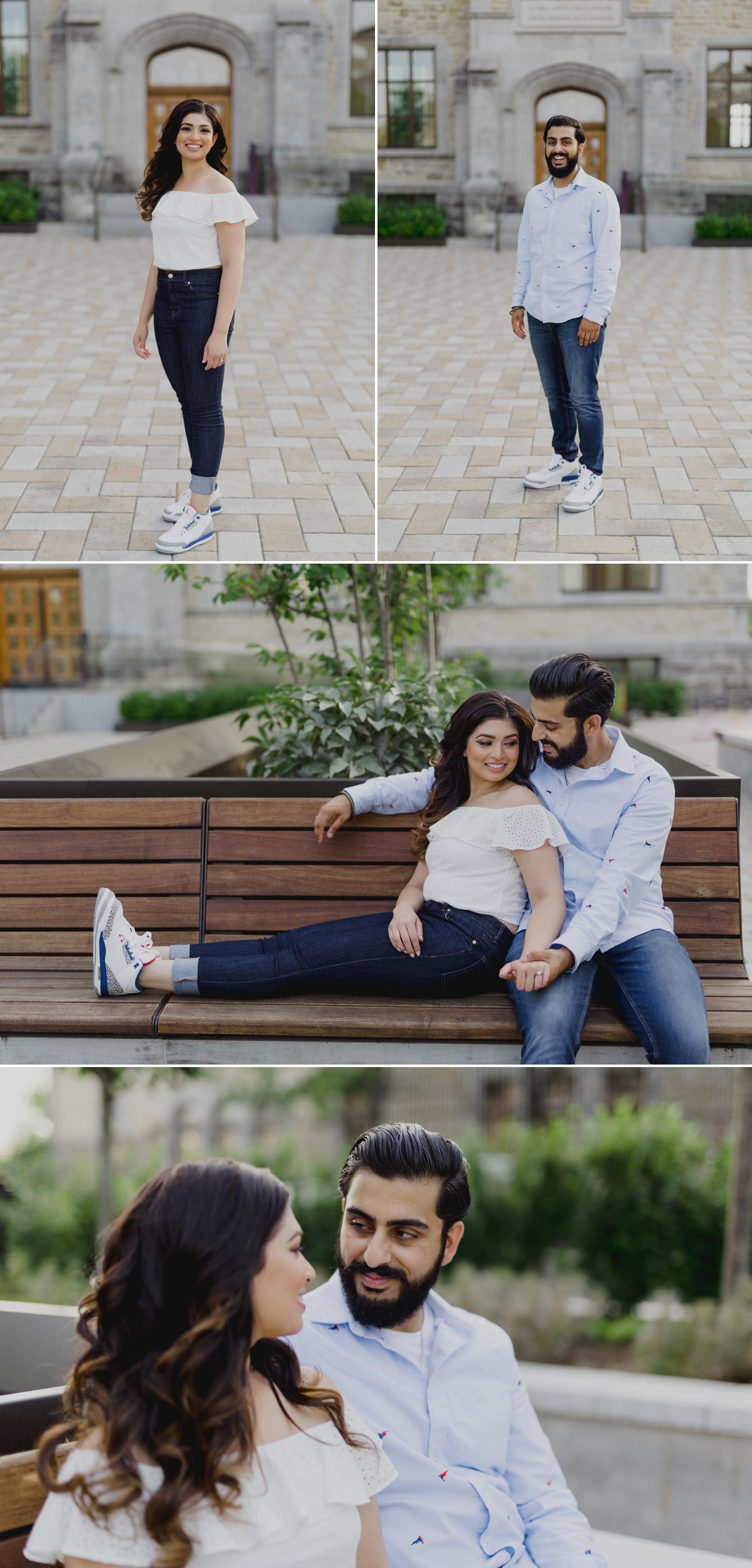 Portraits of an indian man and woman at their engagement shoot in ottawa