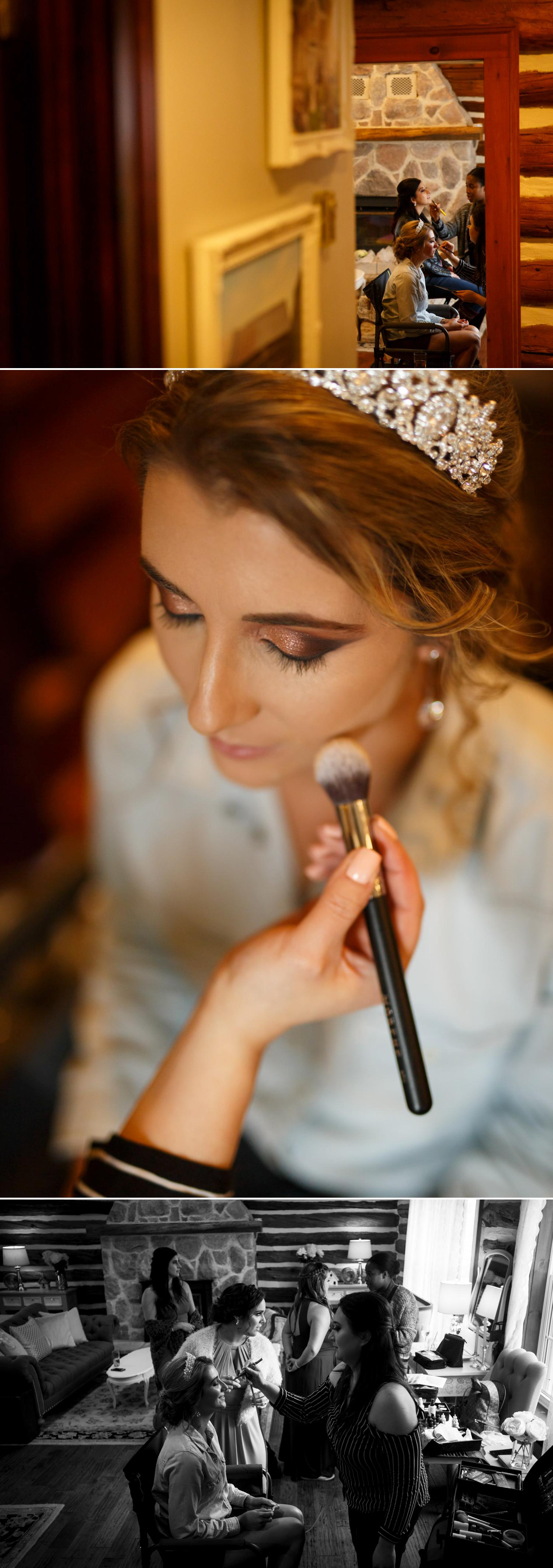 photos of a bride getting ready at stonefields estate