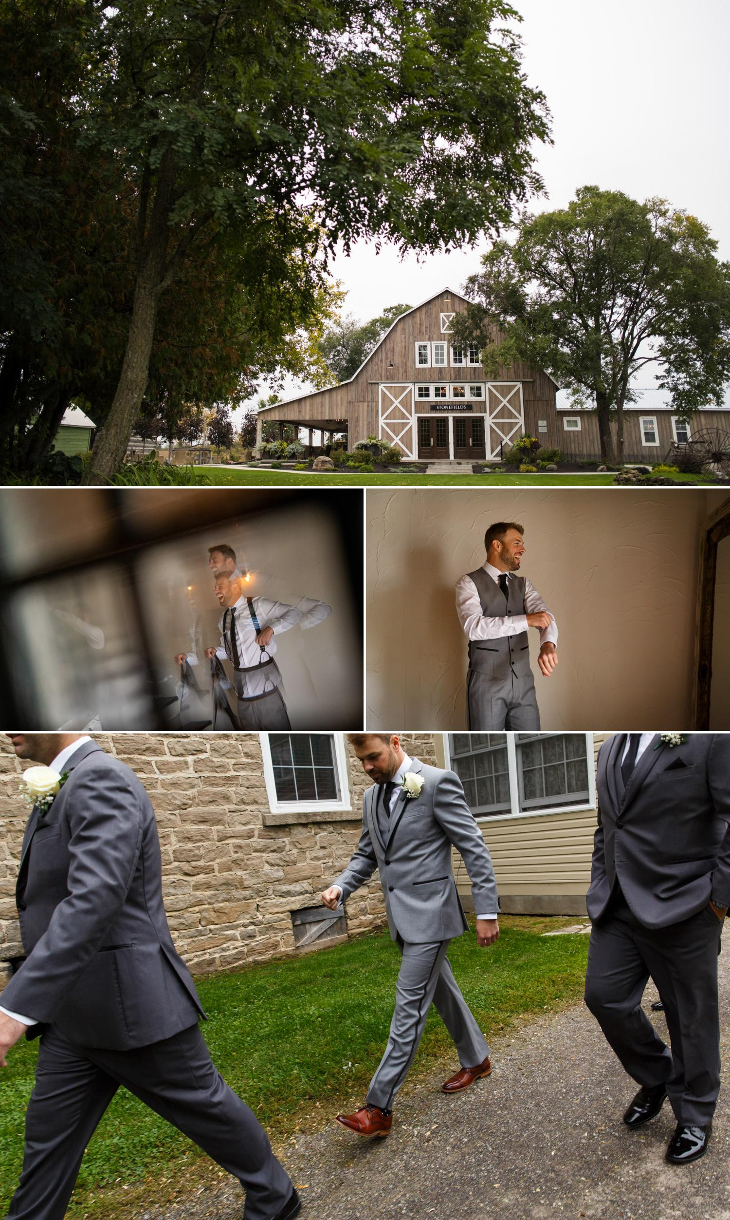 groom getting ready for his stonefields wedding in ottawa