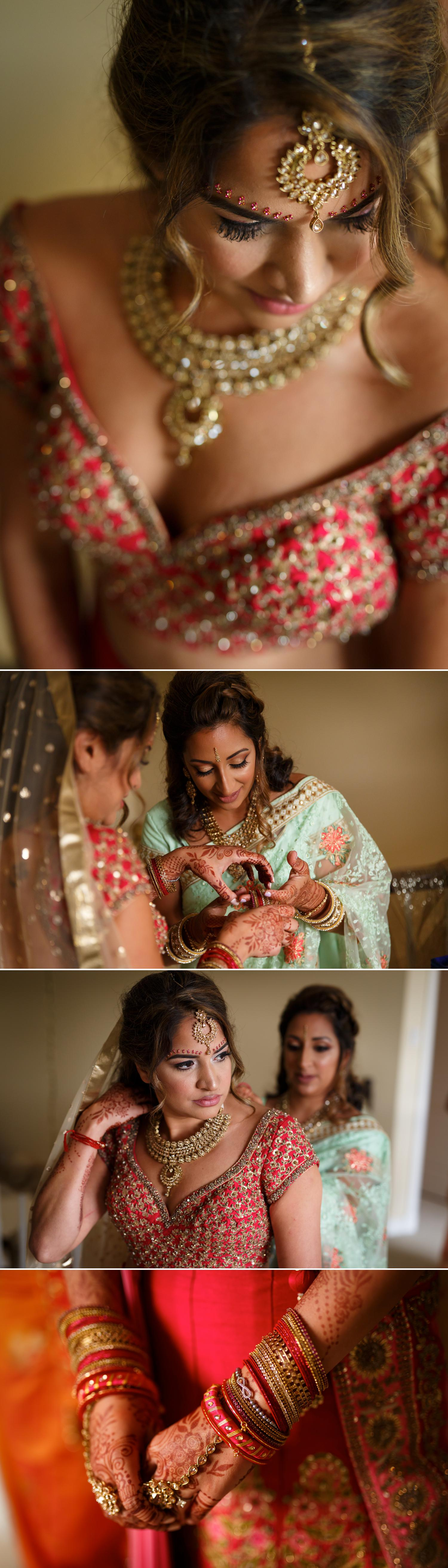 bride getting ready for her indian wedding ceremony in ottawa