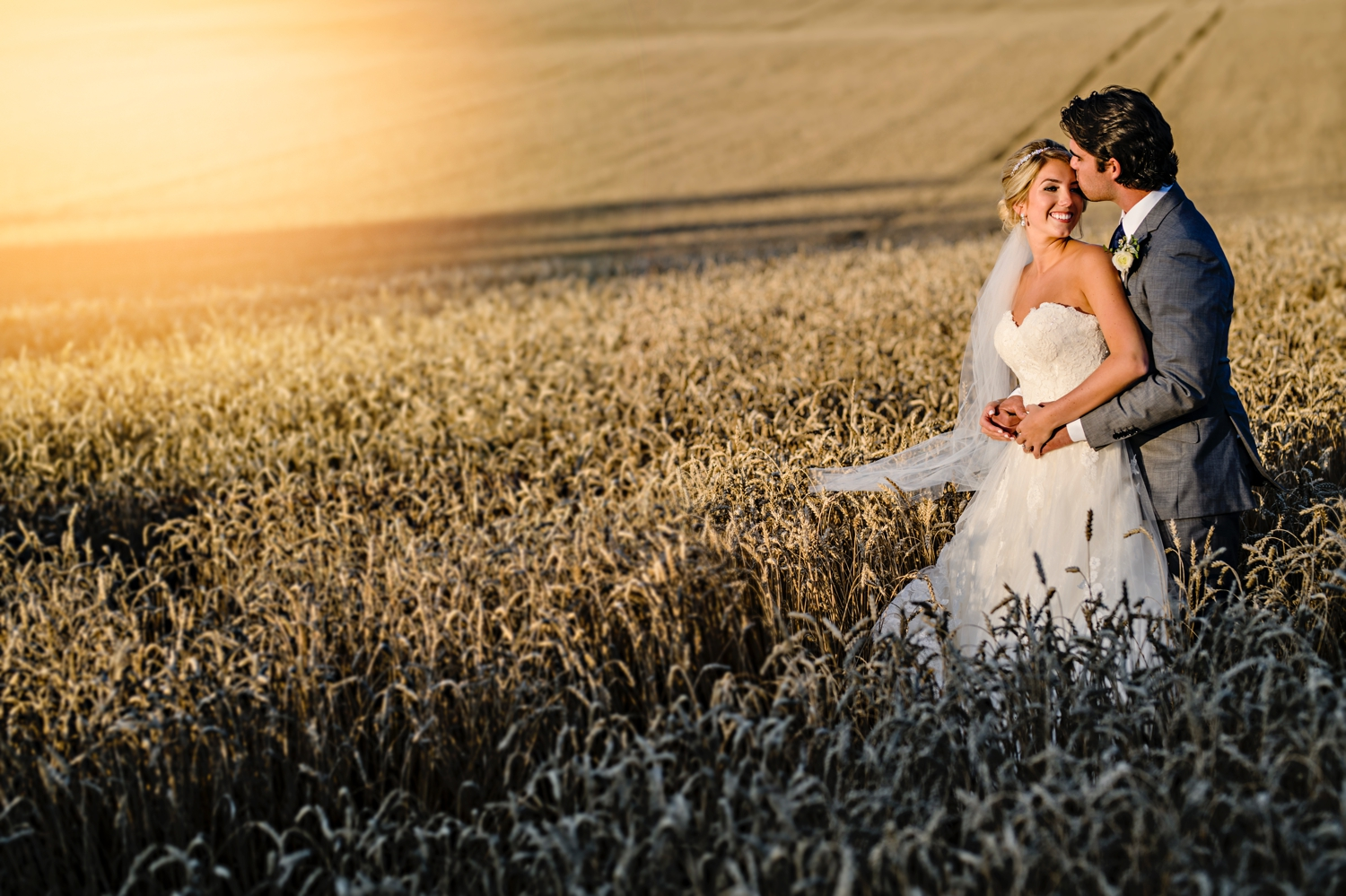 portrait of bride and groom during sunset during a evermore weddings and events wedding in almonte ontario