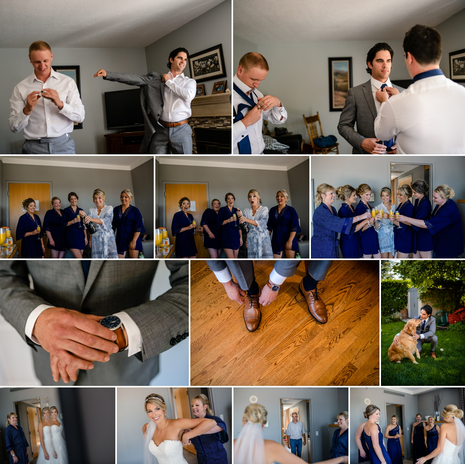 candid moments of bride and groom getting ready for a evermore weddings and events wedding in almonte ontario