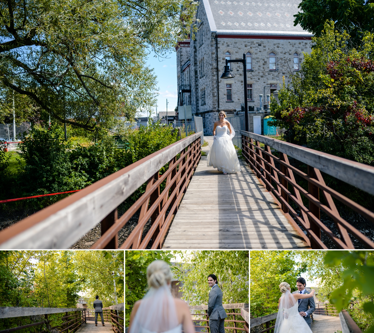 natural and candid moment of bride and groom having the first look before a evermore weddings and events wedding in almonte ontario
