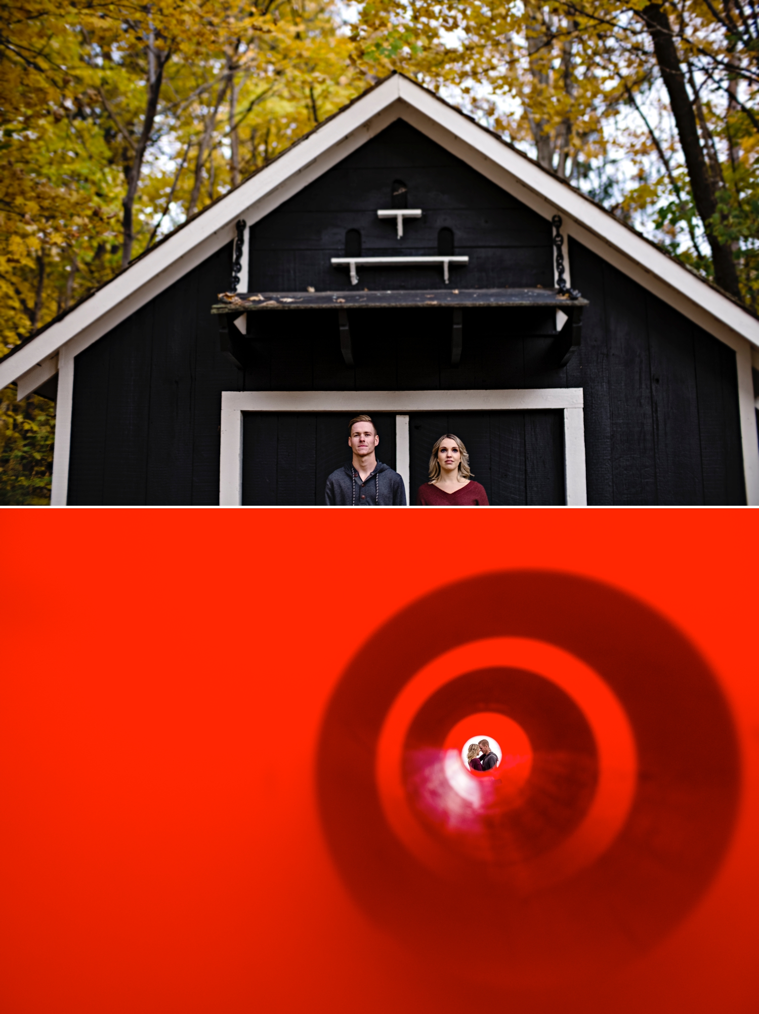 creative photos of an engaged couple on the grounds of mackenzie king estate in gatineau park during the fall