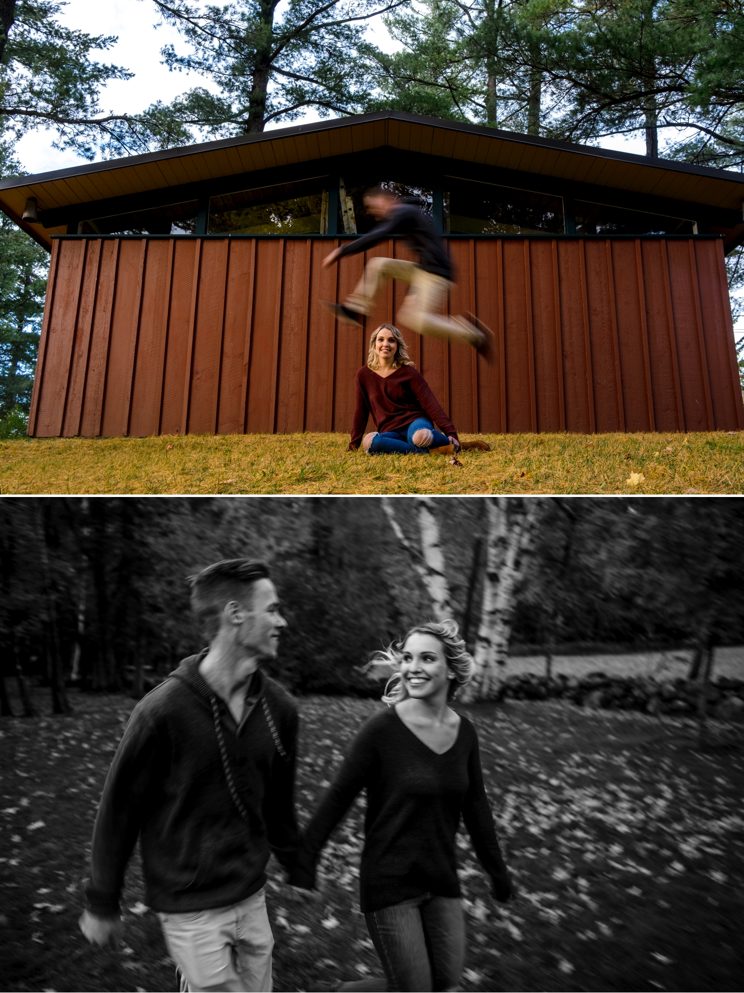 super happy engaged couple on the grounds of mackenzie king estate in gatineau park during the fall