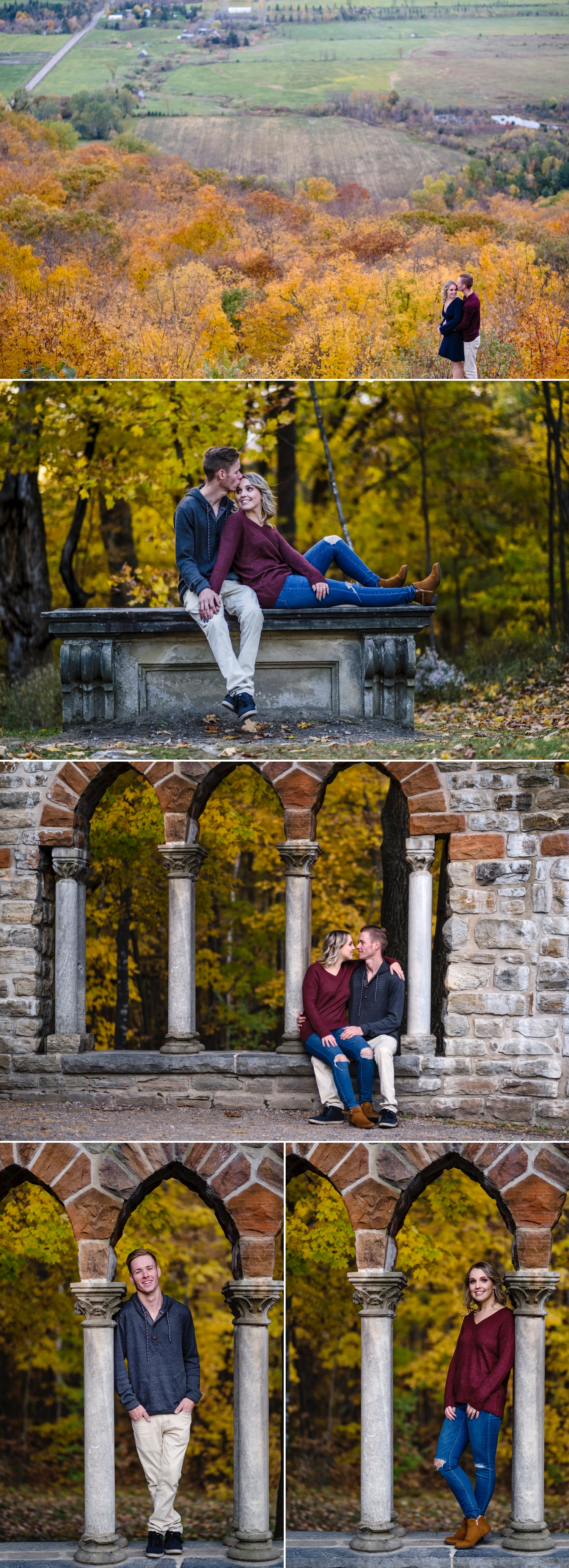 colourful photos of an engaged couple on the grounds of mackenzie king estate in gatineau park during the fall