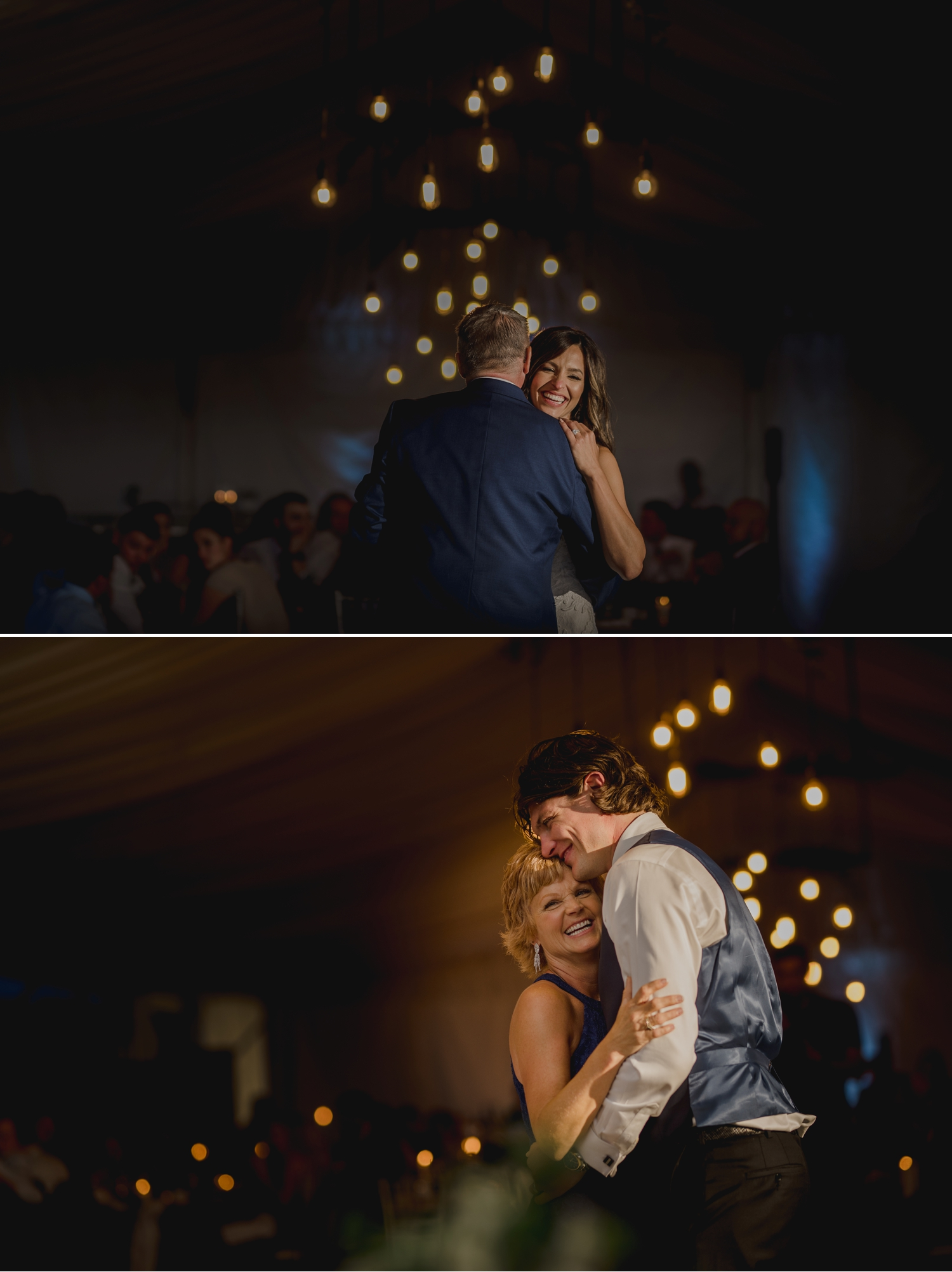 photo of bride and groom having their parent dances during a wedding reception at the ravine vineyard in niagara on the lake ontario