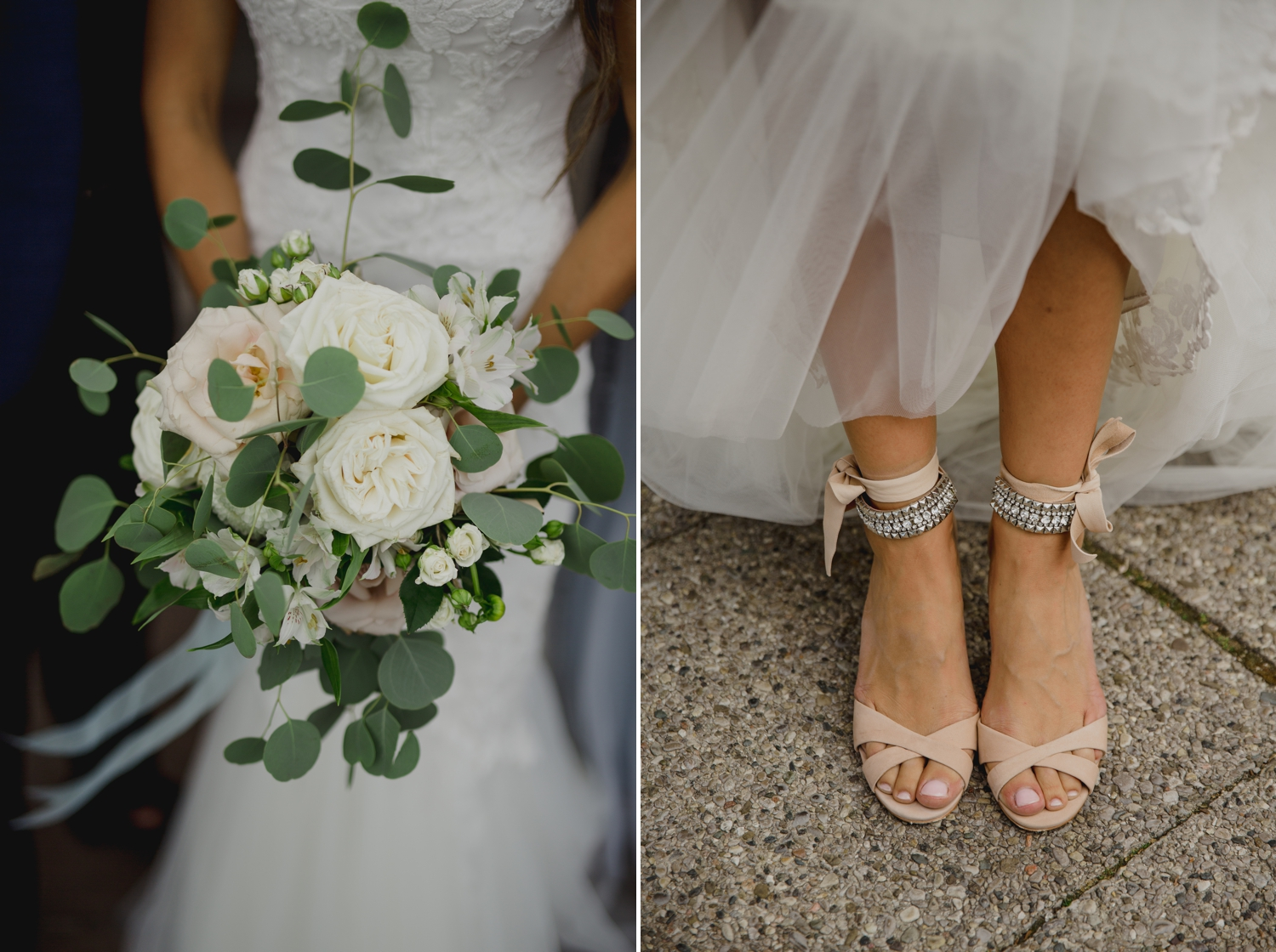 photo of the brides flowers and shoes at the ravine vineyard in niagara on the lake ontario