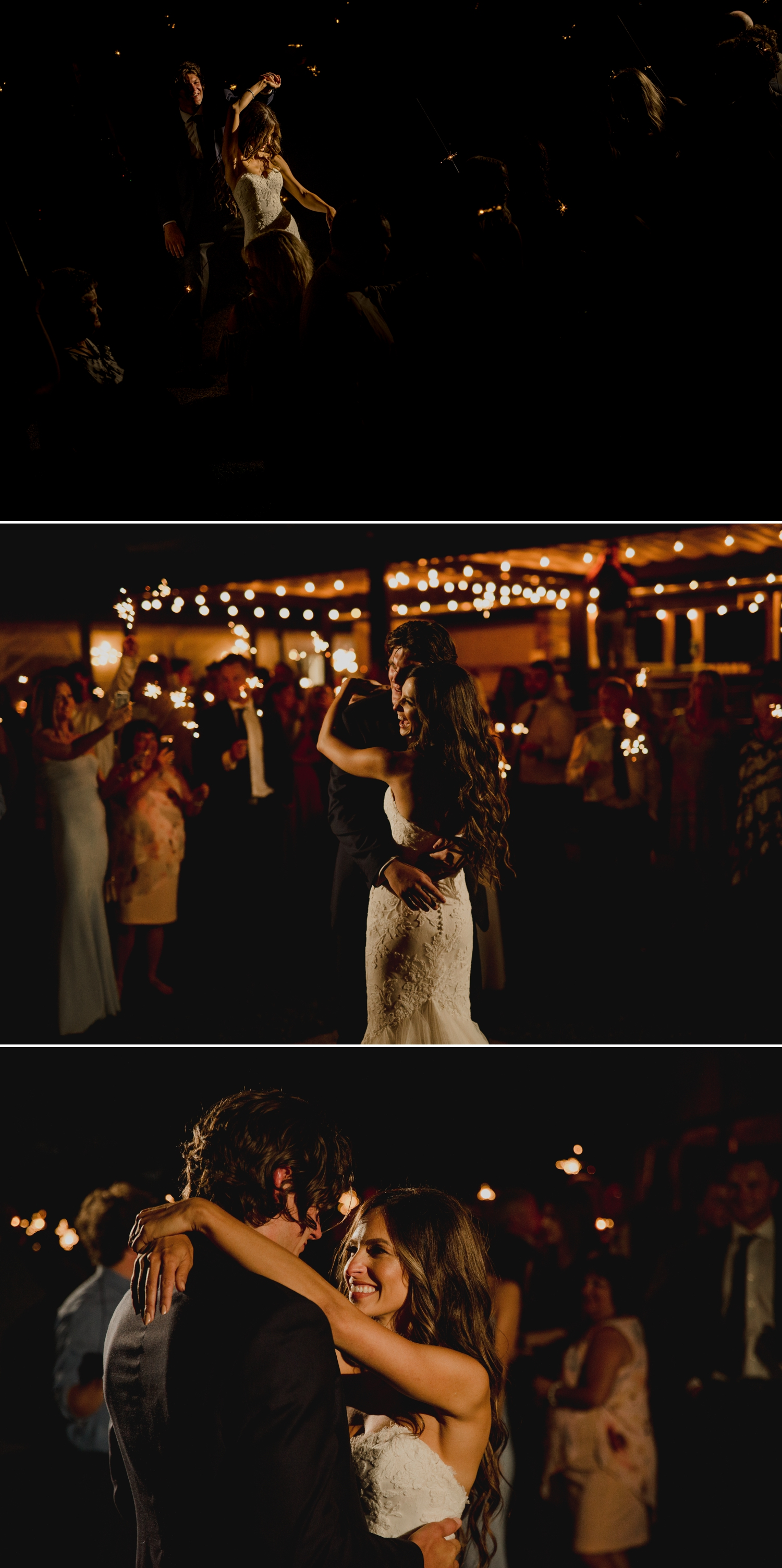 photos of bride and groom having their first dance at night at the ravine vineyard in niagara on the lake ontario