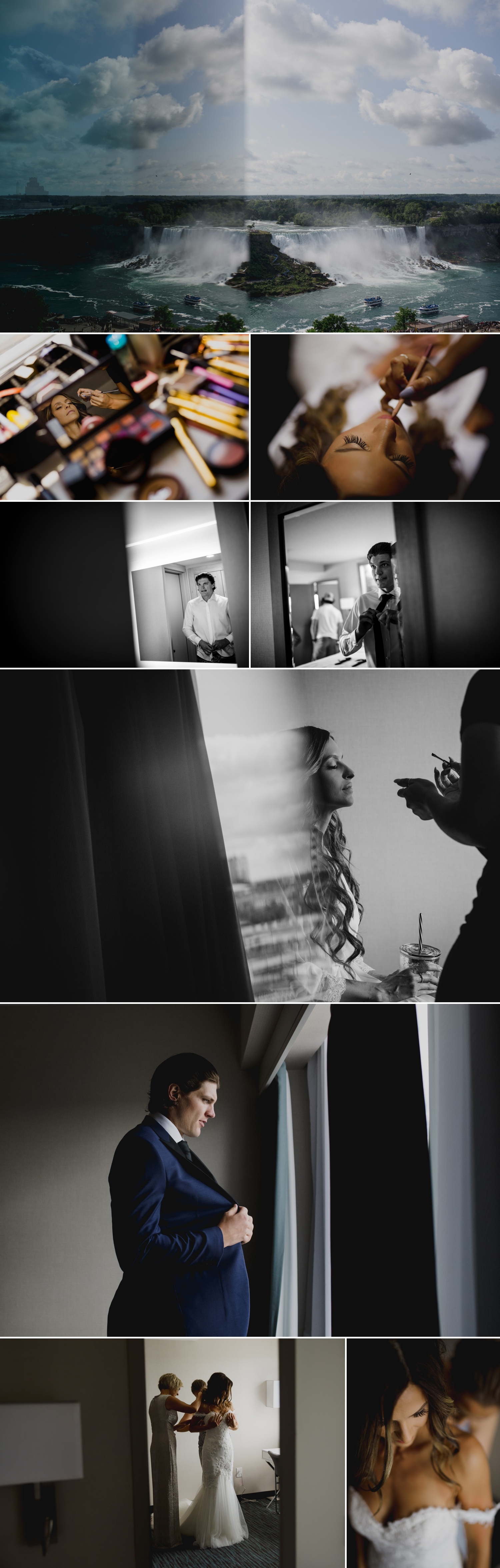 photos of the brides and groom getting ready for their wedding ceremony at the ravine vineyard in niagara on the lake ontario