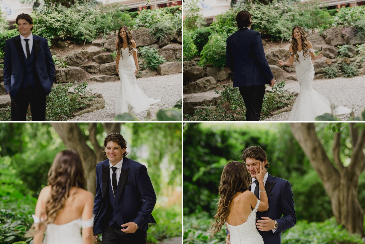 photos of the brides and groom during their first look at a park near niagara falls ontario