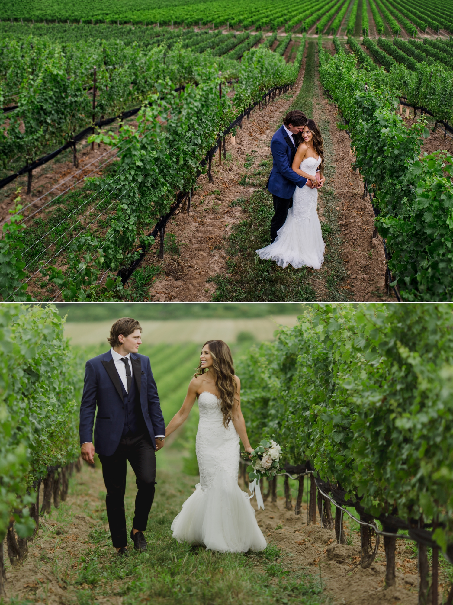 photos of the bride and groom during a wedding at the ravine vineyard in niagara on the lake ontario