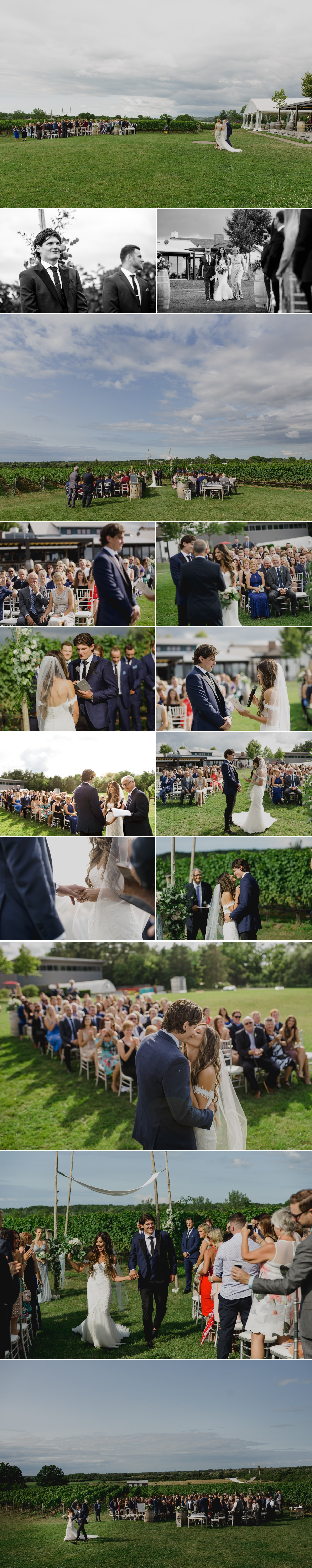 photos of candid moments during a wedding ceremony at the ravine vineyard in niagara on the lake ontario