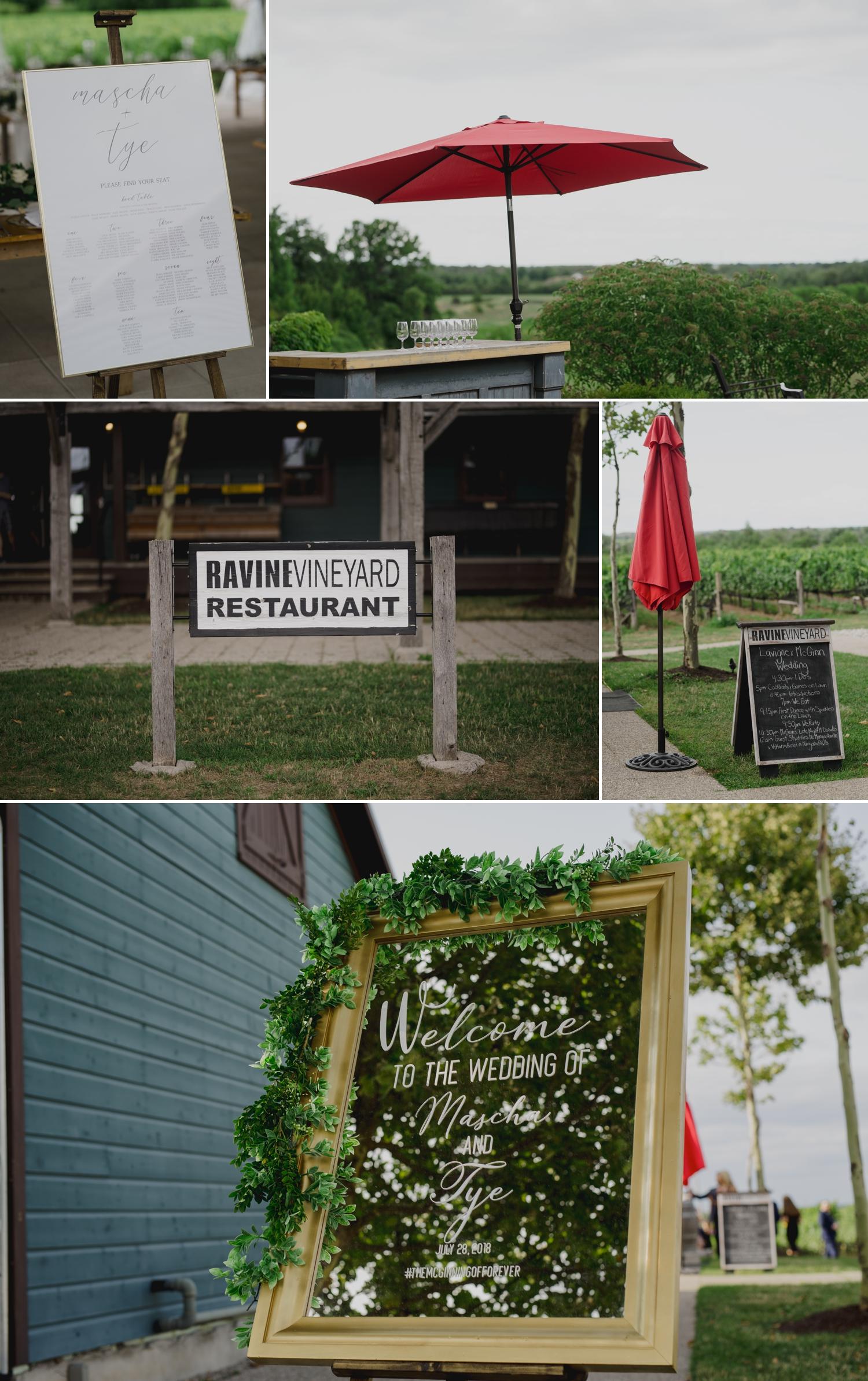 photos of some wedding details at the ravine vineyard in niagara on the lake ontario