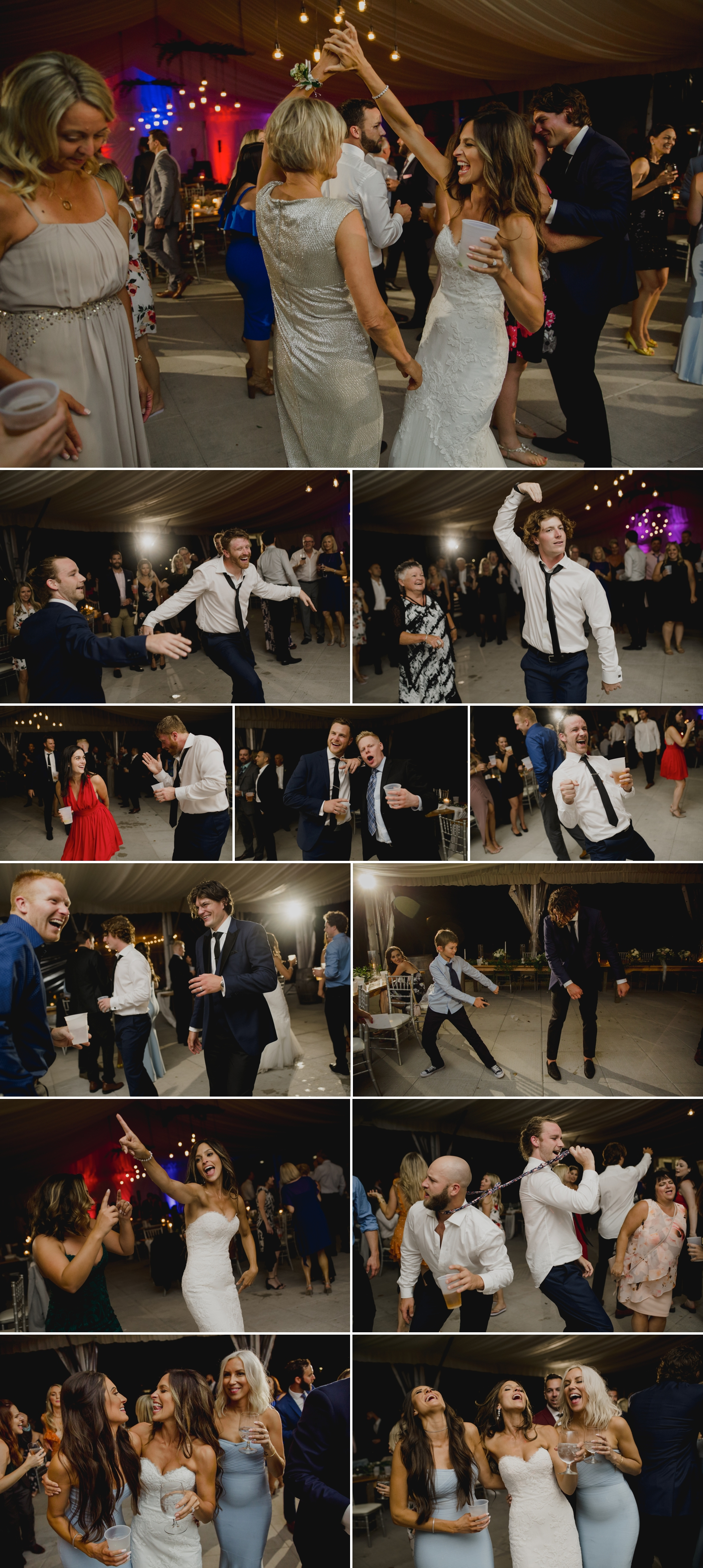 photos of candid moments on the dance floor during a wedding reception at the ravine vineyard in niagara on the lake ontario