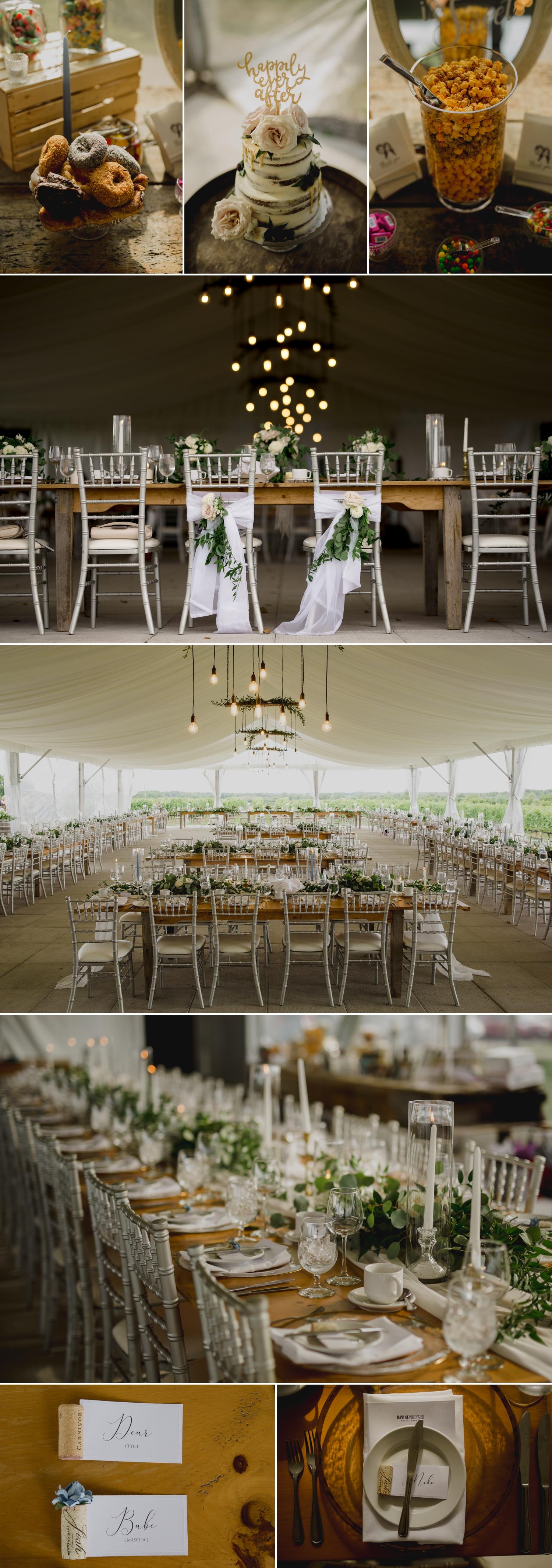 photos of the wedding reception decor at the ravine vineyard in niagara on the lake ontario